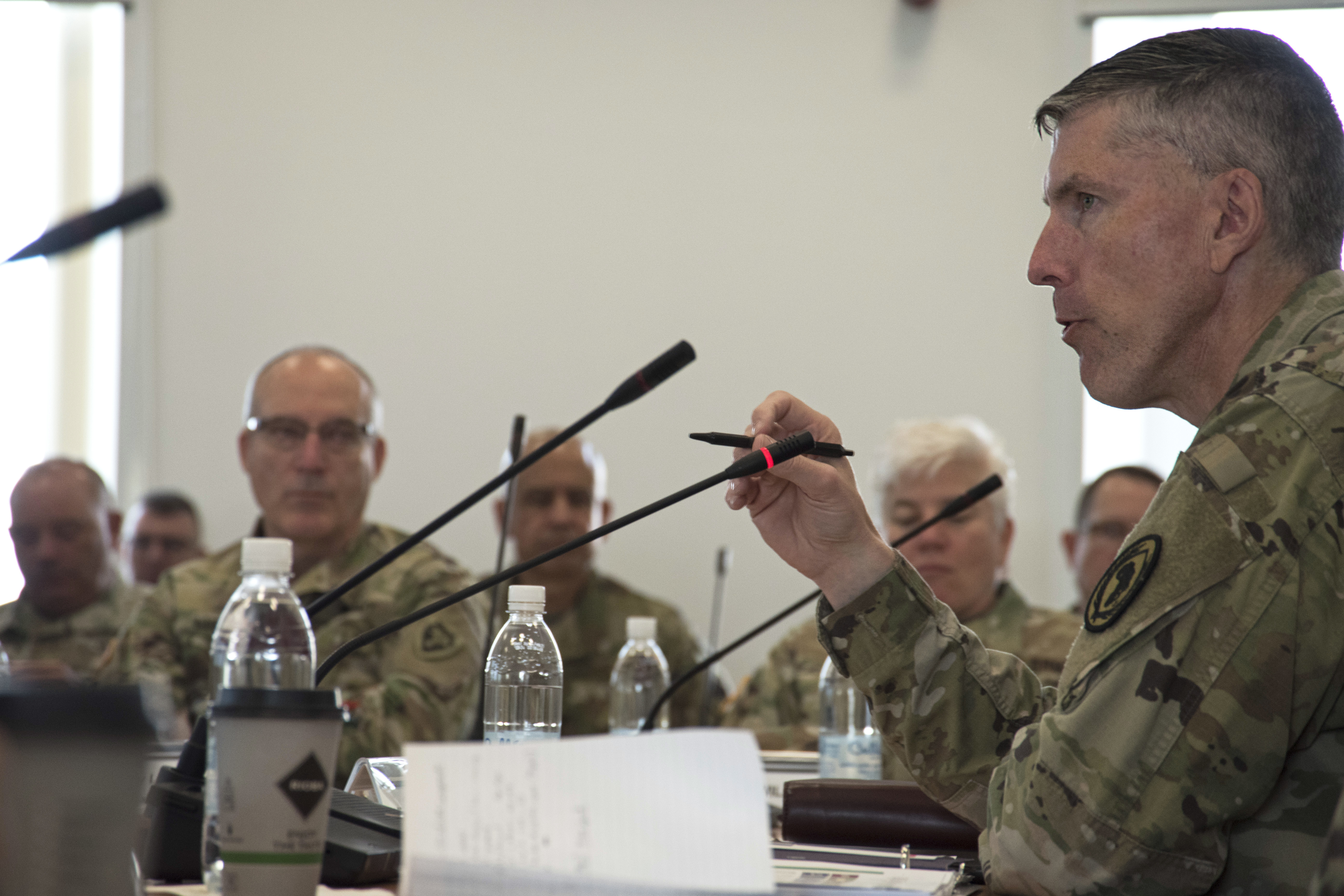 Air Force Maj. Gen. Christopher Craige, director for strategy, engagements and programs at AFRICOM, delivers his opening remarks during The 2019 Adjutant General State Partnership Program Conference April 15 in Stuttgart, Germany. The SPP links National Guard units with partnering nations to develop mutually beneficial long-term relations that enhance global security, understanding and cooperation.(U.S. Navy photo by Mass Communication Specialist 1st Class Christopher Hurd/Released)