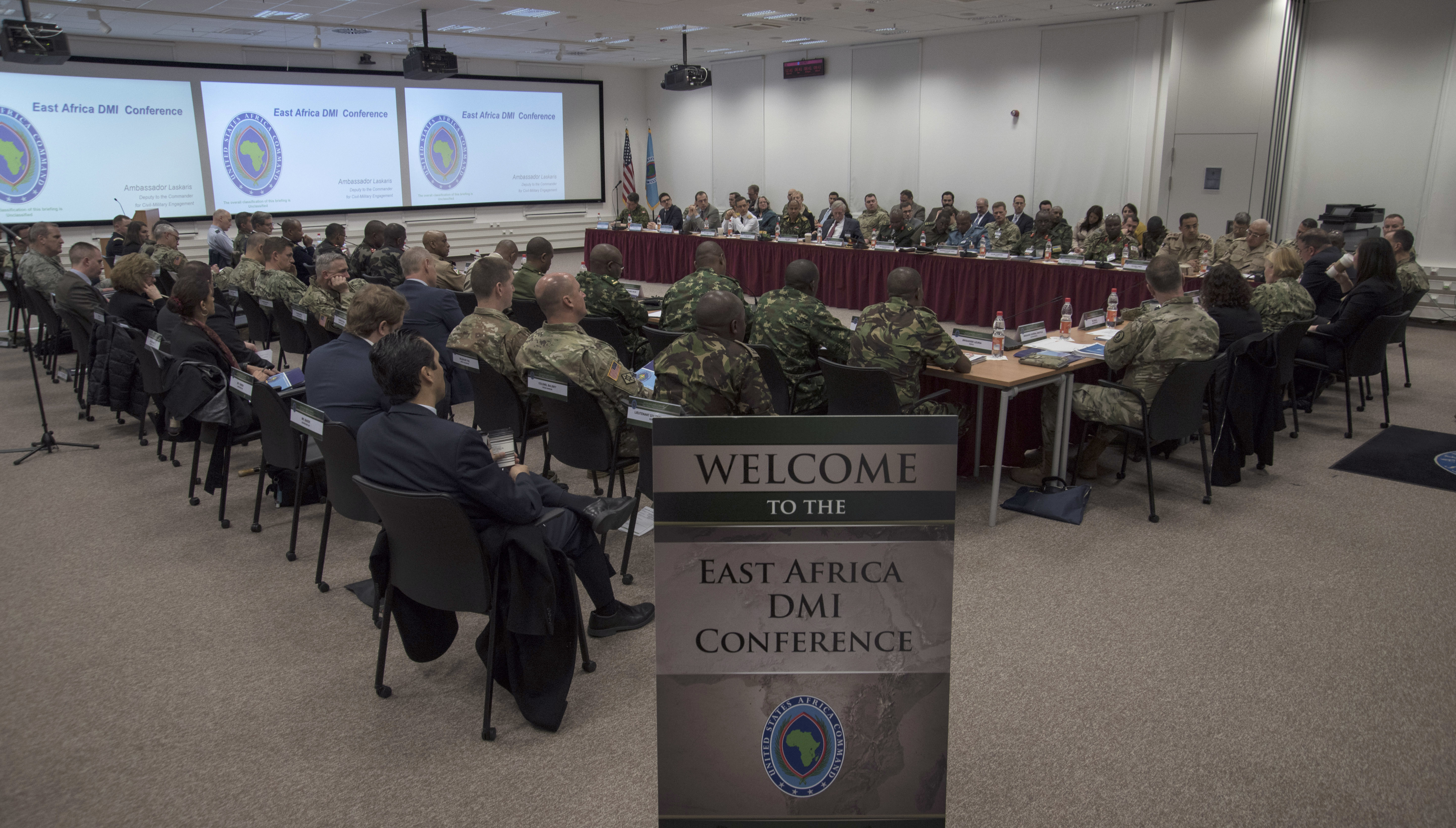 Senior military intelligence officials from East Africa, Europe, the U.S., Canada, and representatives from the African Union Mission to Somalia gather for the 2019 East Africa Directors of Military Intelligence Conference April 3, 2019 in Stuttgart, Germany. EADMIC is an annual AFRICOM event that brings together partner military intelligence chiefs to identify best practices and explore collaborative solutions to shared security problems in East Africa. (U.S. Navy photo by Mass Communication Specialist 1st Class Christopher Hurd/Released)