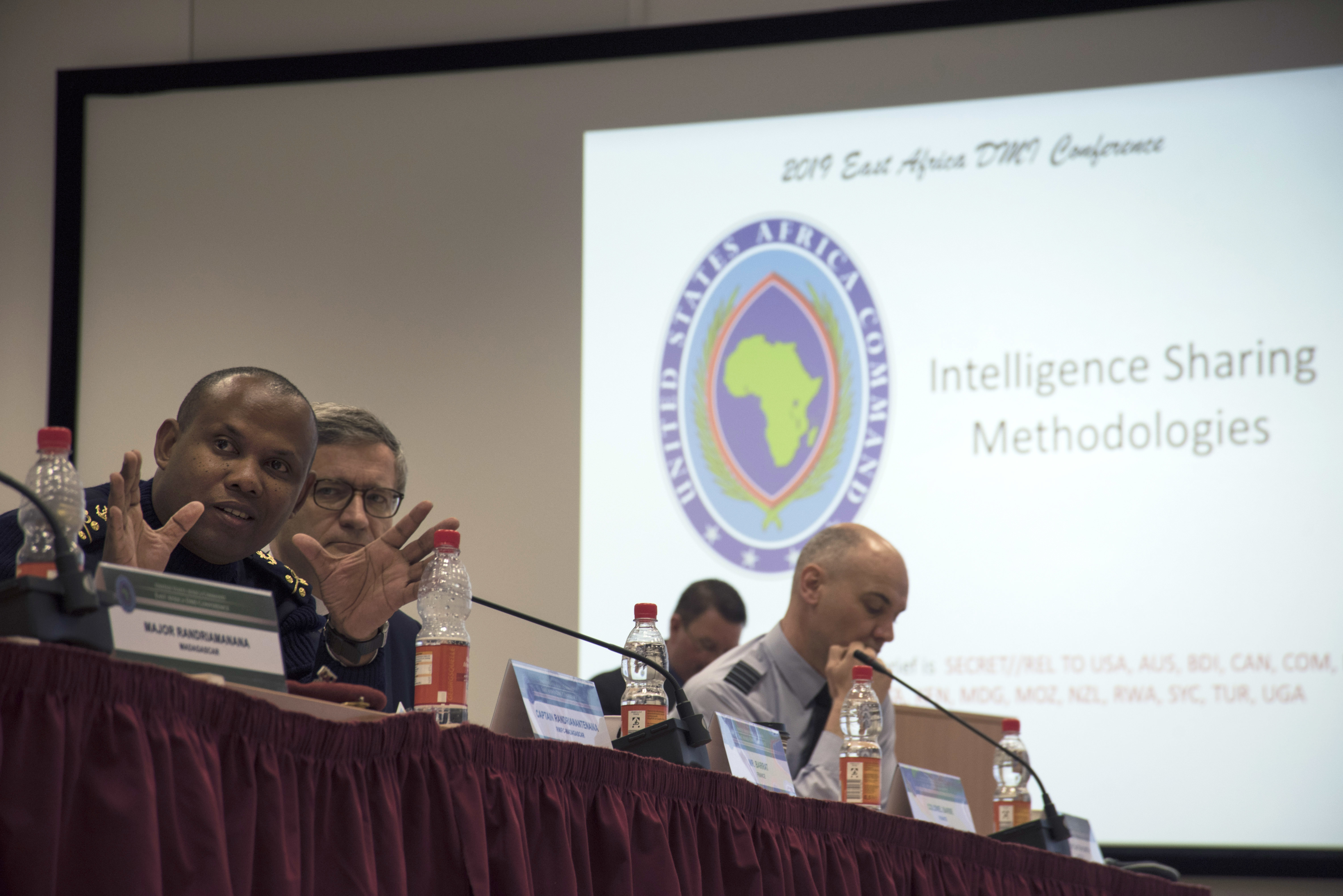 Madagascar Capt. Jean-Edmond Randrianantenaina, general director of the Regional Maritime Information Fusion Center in Madagascar, speaks to attendees of the 2019 East Africa Directors of Military Intelligence Conference April 3, 2019 in Stuttgart, Germany. This conference looked to establish and building upon existing relationships as military intelligence professionals worked toward common goals. (U.S. Navy photo by Mass Communication Specialist 1st Class Christopher Hurd/Released)