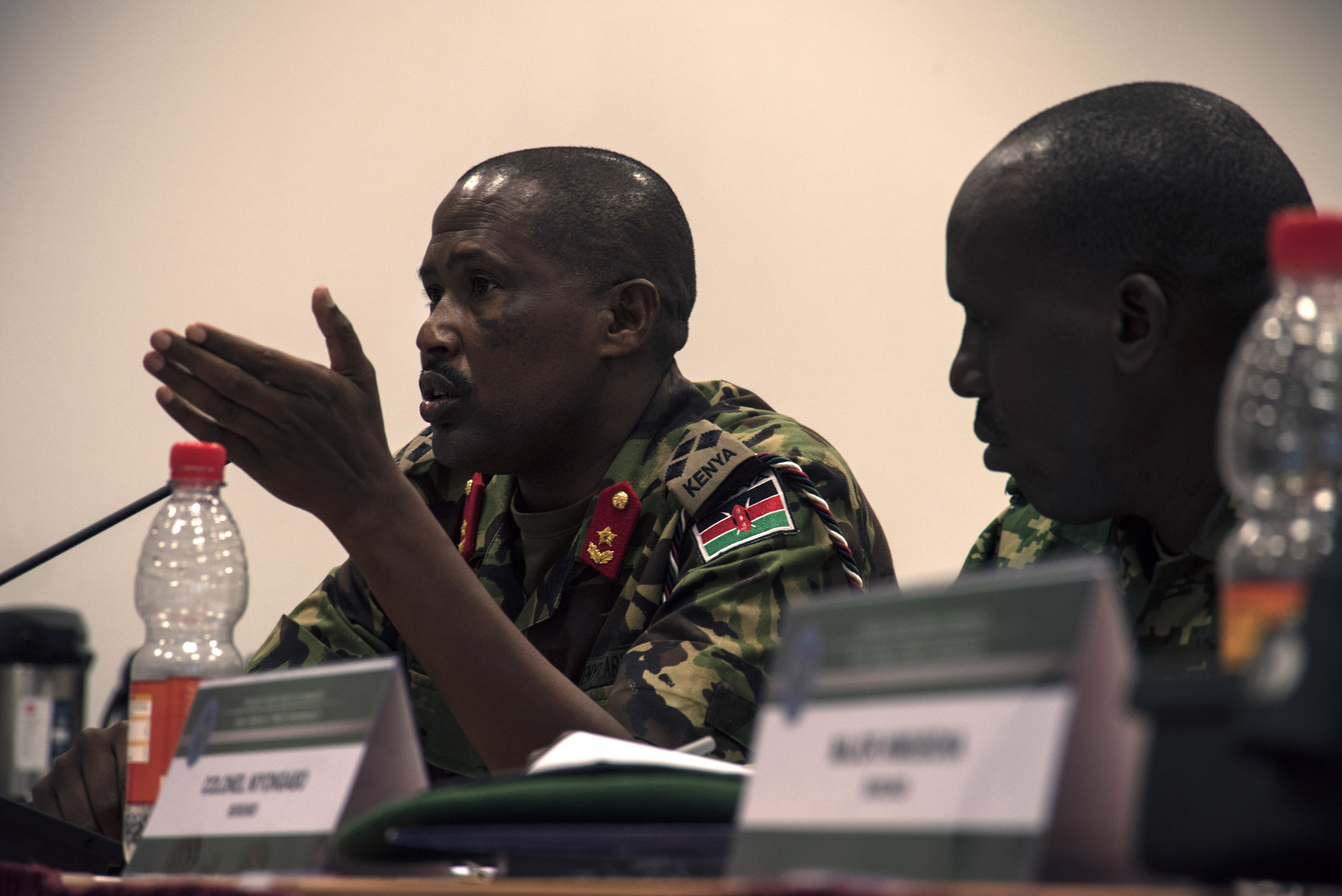 Kenyan Brig. Gen. Fredrick Leuria, deputy director of military intelligence at the Kenyan defense headquarters, speaks during one of the open discussions at the 2019 East Africa Directors of Military Intelligence Conference April 3, 2019 in Stuttgart, Germany. This year 34 representatives from 10 African partners along with representatives from Europe, the U.S. and Canada attended the intelligence conference. (U.S. Navy photo by Mass Communication Specialist 1st Class Christopher Hurd/Released)