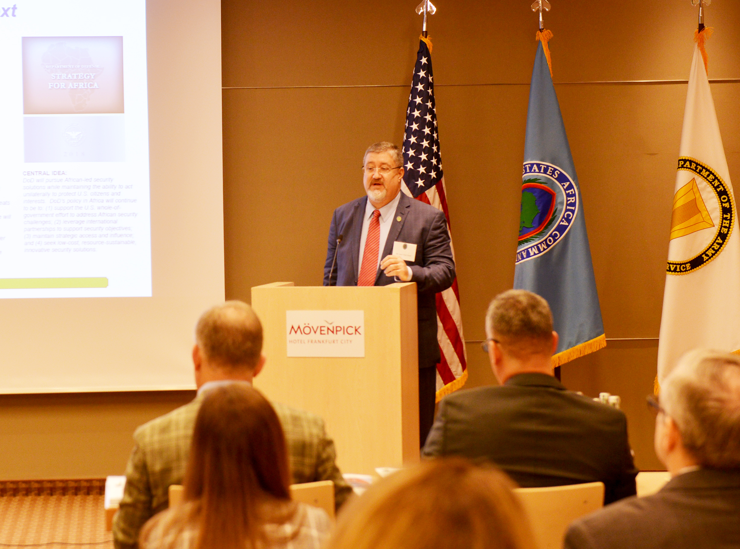 "FRANKFURT, Germany – Larry ""Chip"" Shoaf, program manager, Directorate of Resources and Assessments- J8, U.S. Africa Command, addresses attendees of the 2019 Resources and Assessments Workshop, April 26, 2019, in Frankfurt, Germany. 