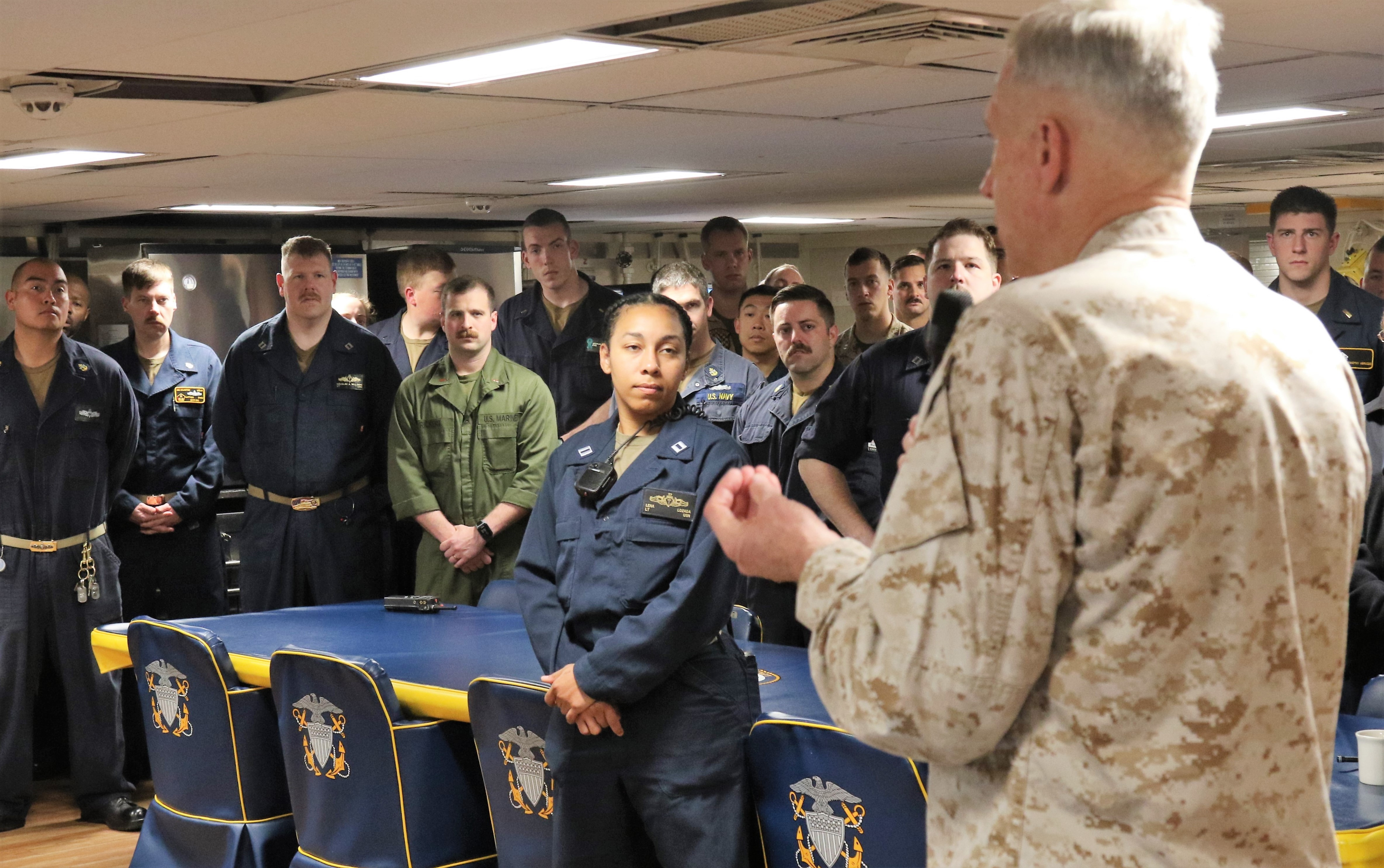 Marine Corps Gen. Thomas D. Waldhauser, commander, U.S. Africa Command speaks to personnel aboard the San Antonio-class amphibious transport dock ship USS Arlington (LPD-24) May 9, 2019. He thanked the crew for their efforts to support AFRICOM operations and engagements in the command's area of responsibility.
