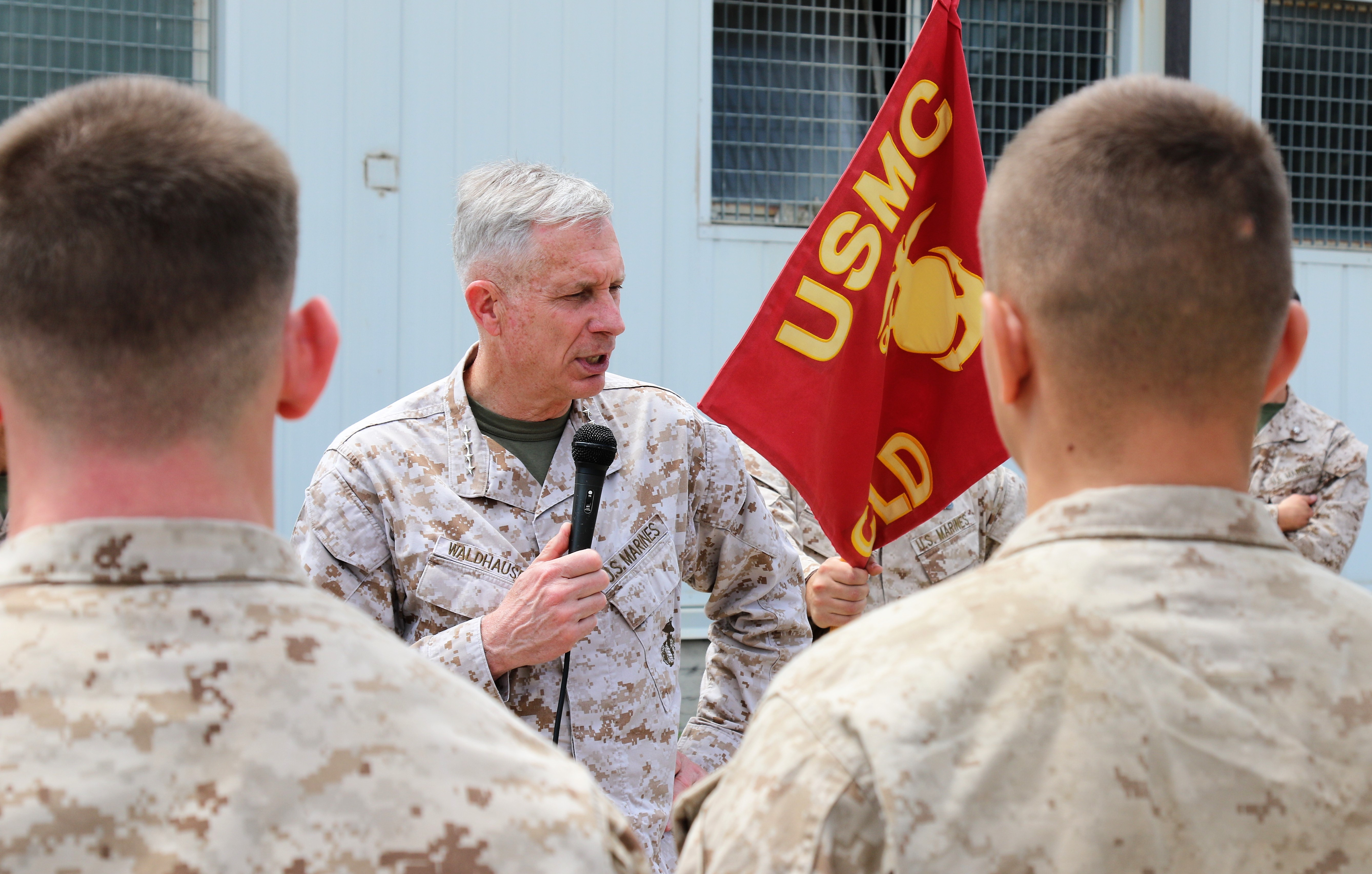Marine Corps Gen. Thomas D. Waldhauser, commander, U.S. Africa Command, talks with U.S. Marines and Sailors with Special Purpose Marine Air-Ground Task Force-Crisis Response-Africa 19.2, Marine Forces Europe and Africa, at Naval Air Station Sigonella, Italy, May 9, 2019. Waldhauser spoke with the SPMAGTF-CR-AF troops about their mission and role as a crisis-response force.