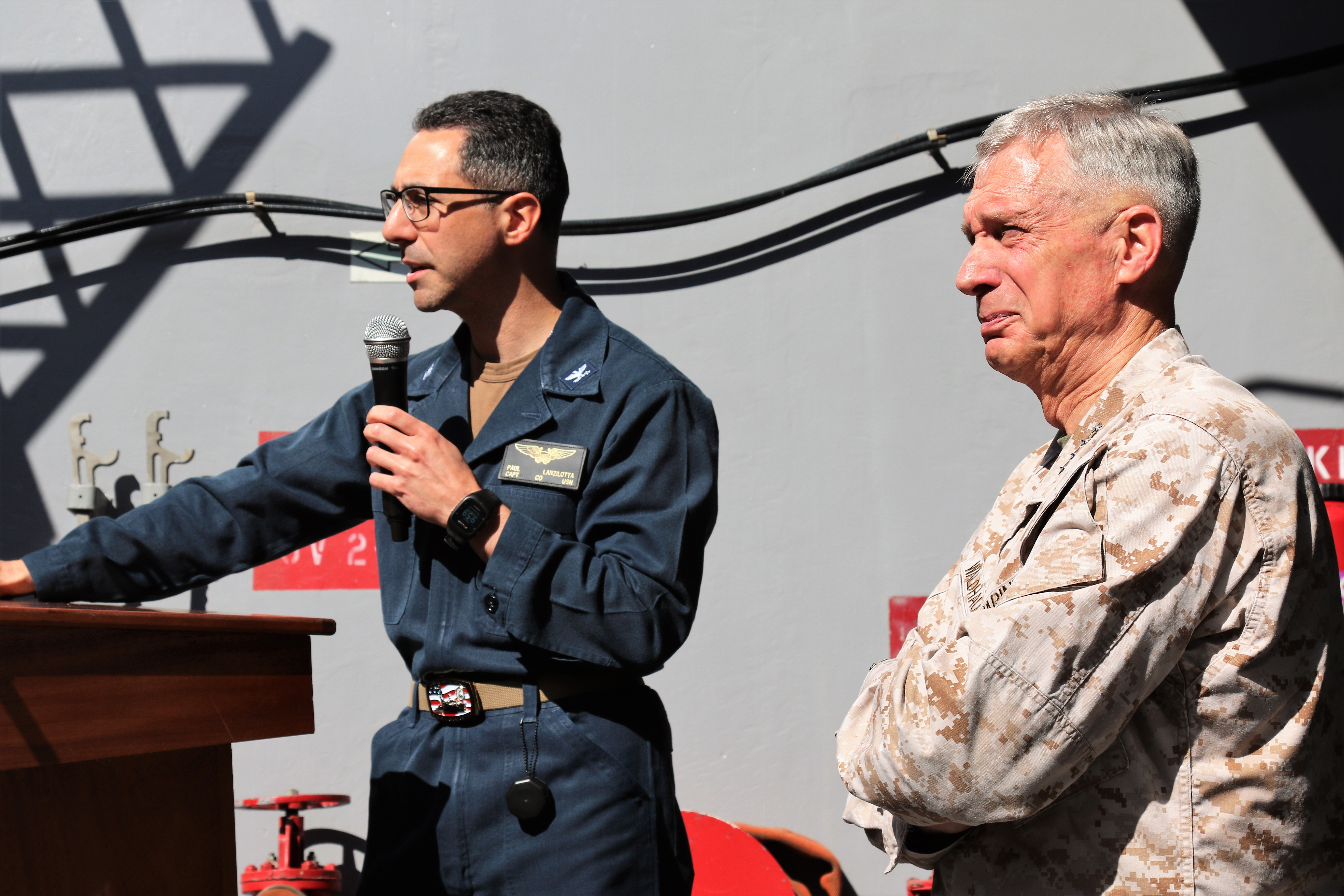Capt. Paul Lanzilotta, commanding officer of the San Antonio-class amphibious transport dock ship USS Arlington (LPD 24)  introduces Marine Corps Gen. Thomas D. Waldhauser, commander, U.S. Africa Command during a visit to the ship May 9, 2019. Waldhauser thanked the crew for their efforts to support AFRICOM operations and engagements in the command's area of responsibility.