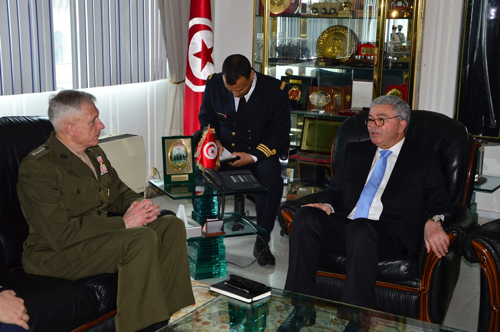 Marine Corps Gen. Thomas D. Waldhauser, commander, U.S. Africa Command, meets with Tunisian Minister of Defense Abdelkrim Zbidi May 16, 2019. Waldhauser. During the visit, Waldhauser stressed how AFRICOM will preserve a majority of its U.S. security cooperation, partnerships and programs in Africa in a continued effort to strengthen partner networks while enhancing capability.