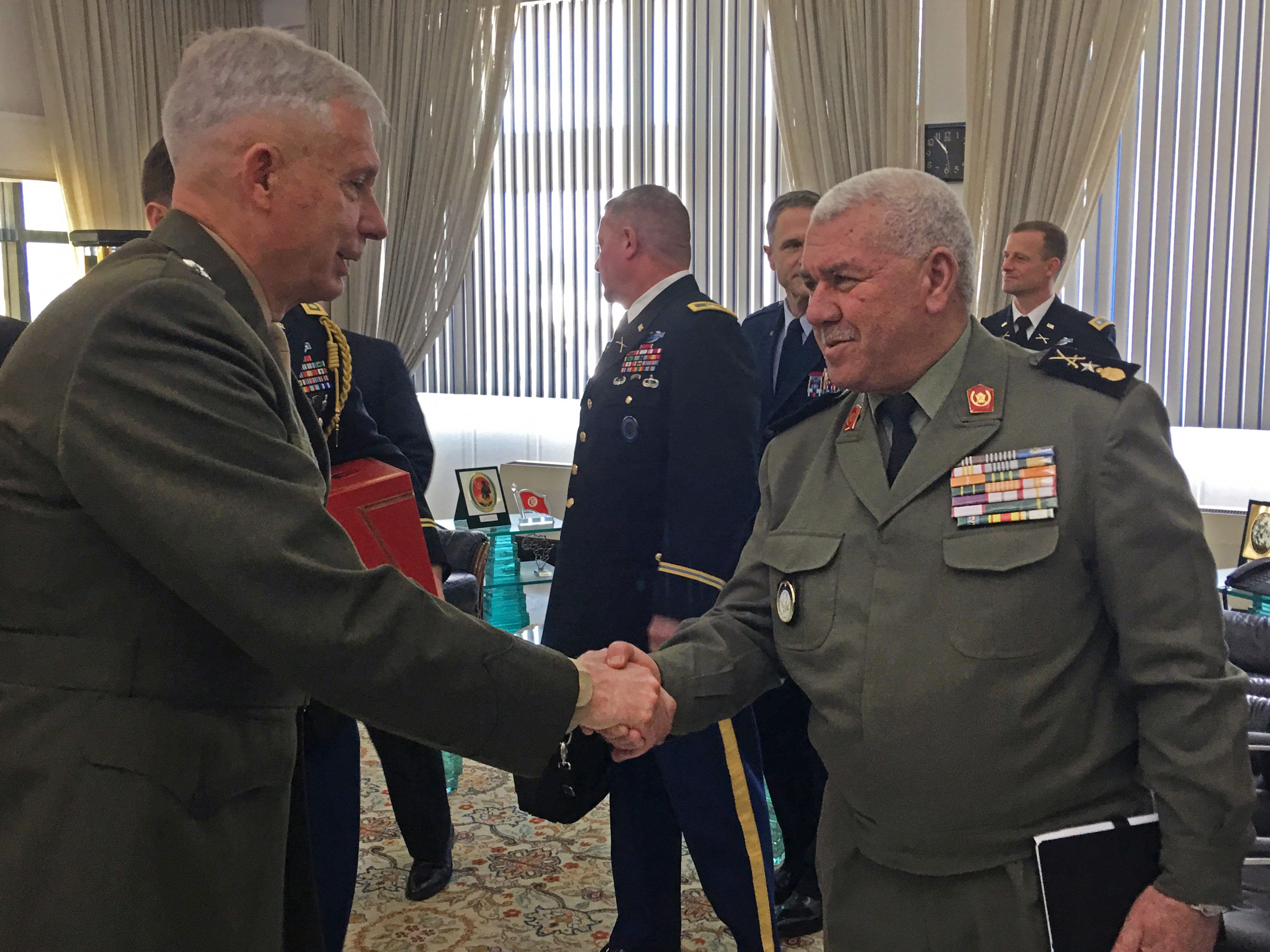 Marine Corps Gen. Thomas D. Waldhauser met with Tunisian military officials in Tunis, Tunisia May 16, 2019. Waldhauser was in Tunis to discuss AFRICOM's role in the region as well as exploring common challenges and areas to partner with the Tunisian military in the future.