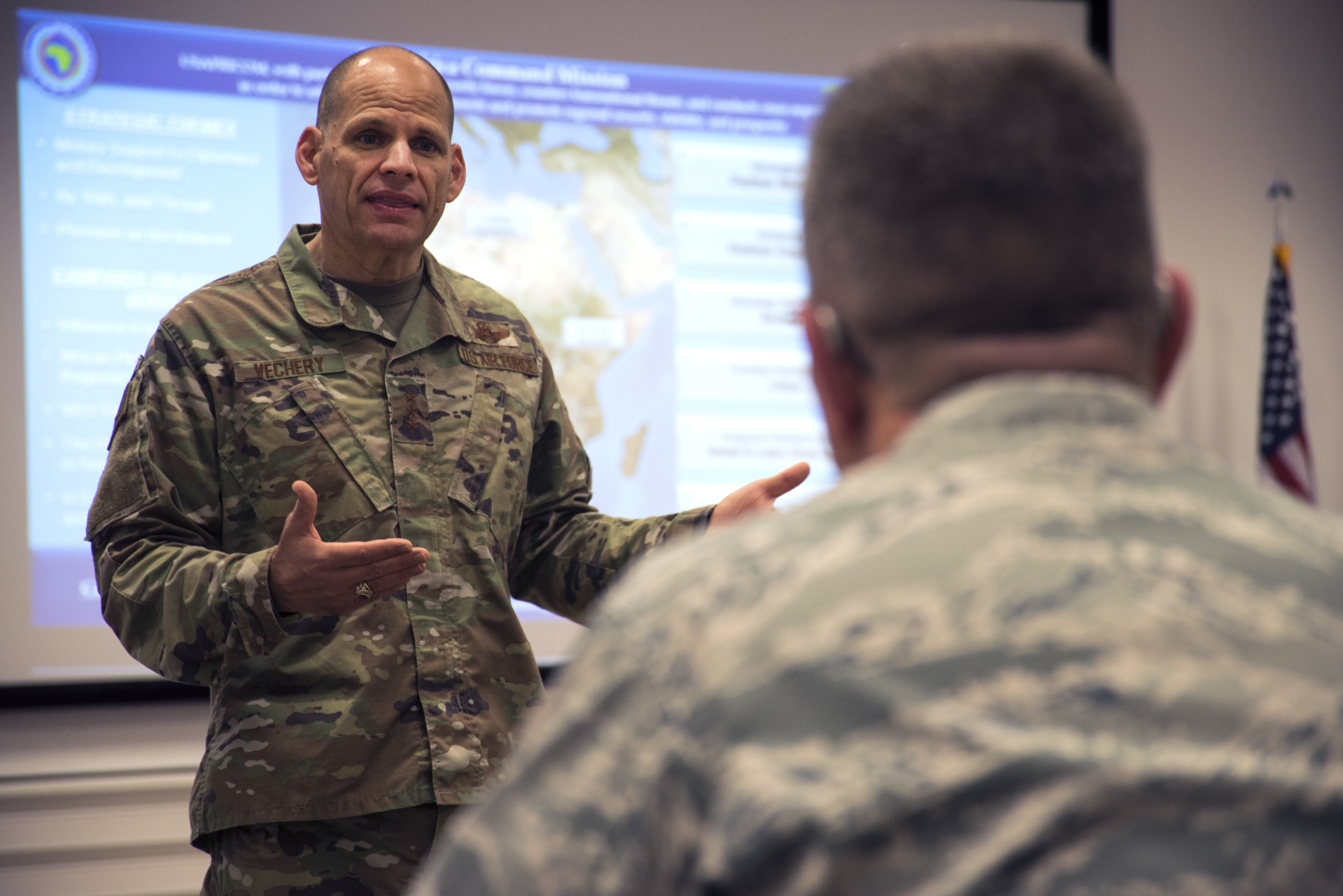 Air Force Lt. Gen. James C. Vechery, U.S. Africa Command deputy to the commander for military operations, speaks to attendees of the 2019 AFRICOM Command Surgeon Synchronization Conference, May 28, 2019 in Stuttgart, Germany. Vechery spoke about utilizing the medical field for future engagements with African partner nations. (U.S. Navy photo by Mass Communication Specialist 1st Class Christopher Hurd/Released)