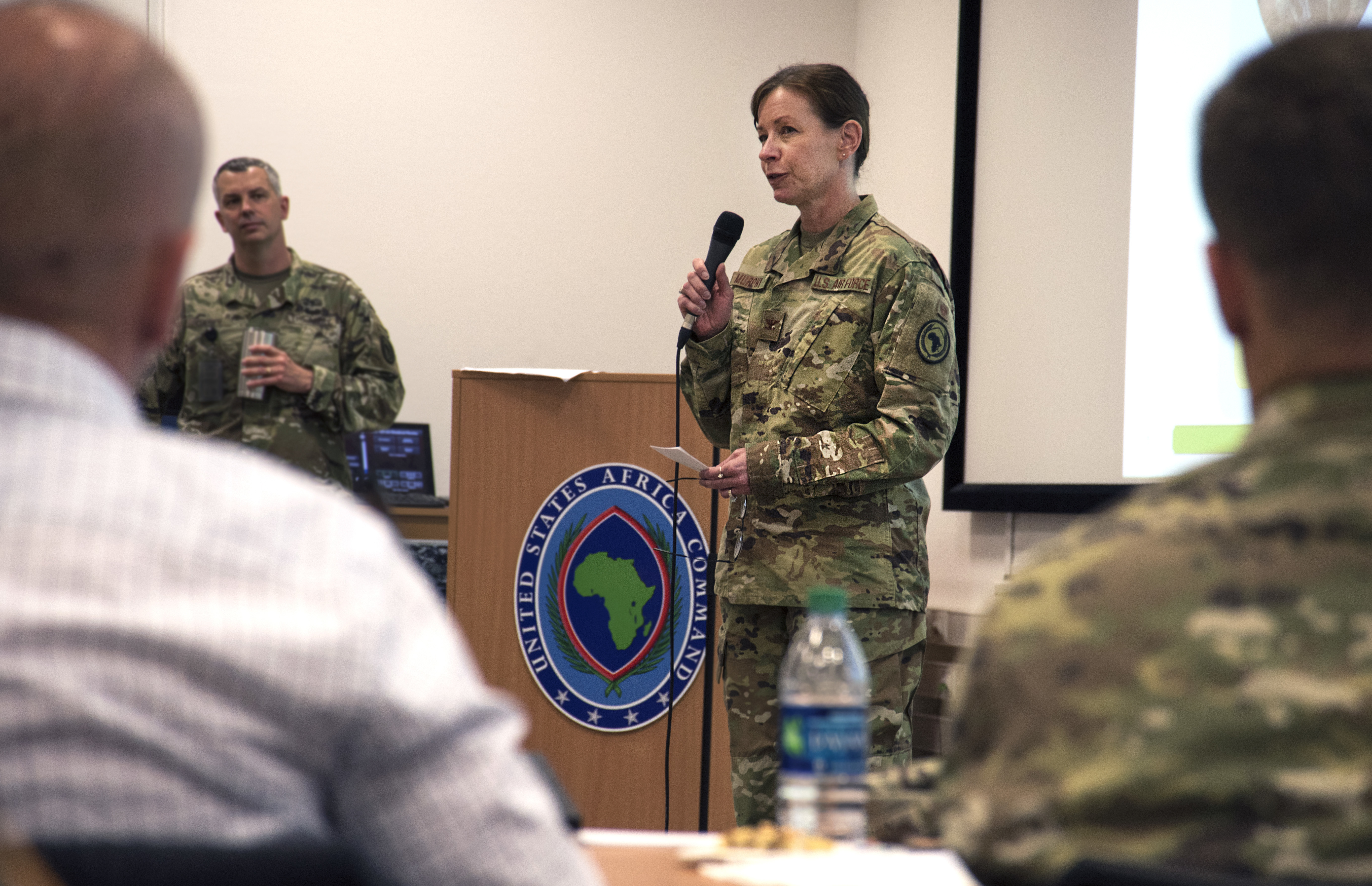 Air Force Col. Krystal Murphy, acting AFRICOM command surgeon, speaks to attendees of the 2019 U.S. Africa Command Command Surgeon Synchronization Conference May 28, 2019 in Stuttgart, Germany. Murphy talked about the importance of building relationships during the conference. (U.S. Navy photo by Mass Communication Specialist 1st Class Christopher Hurd/Released)