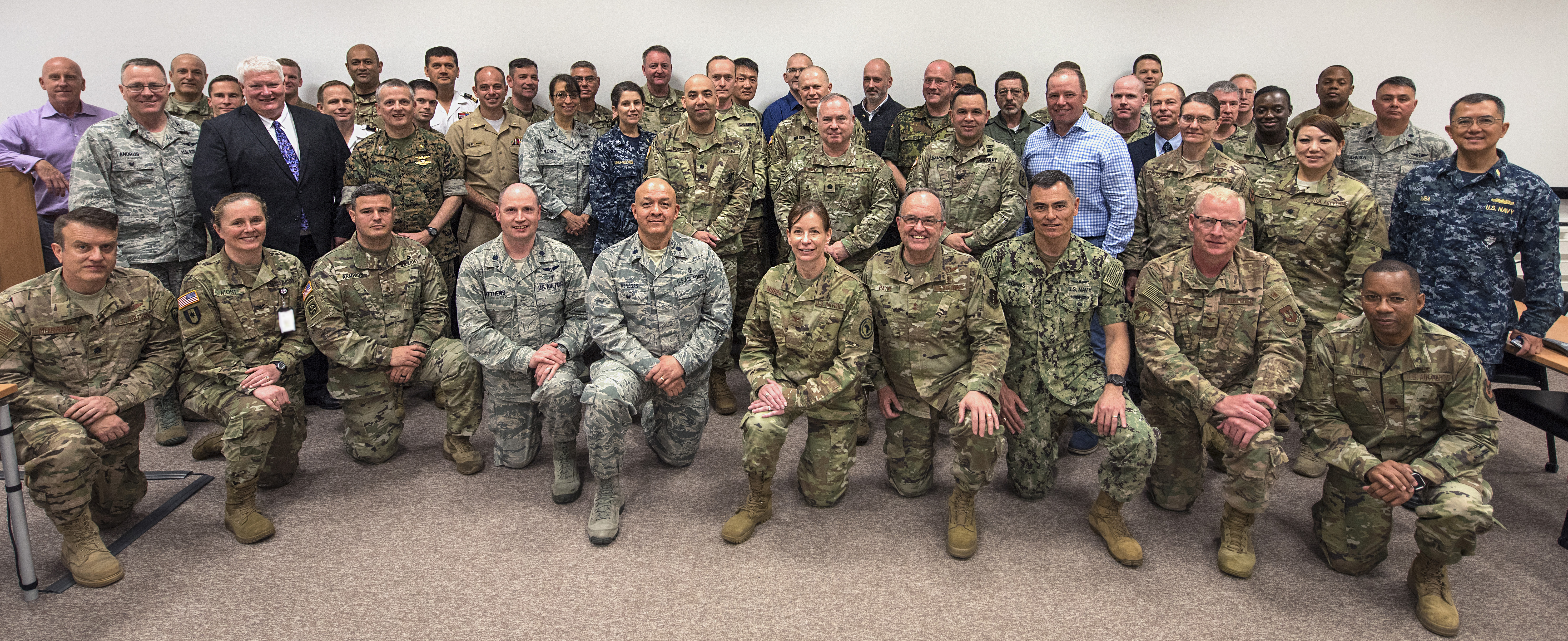 Attendees of the 2019 U.S. AFRICOM Command Surgeon Synchronization Conference pose for a photo, May 28, 2019 in Stuttgart, Germany. The conference brought together medical professionals from across the command, and interagency and foreign partners, to enable collaboration and to discuss areas of concern within the medical enterprise in Africa. (U.S. Navy photo by Mass Communication Specialist 1st Class Christopher Hurd/Released)