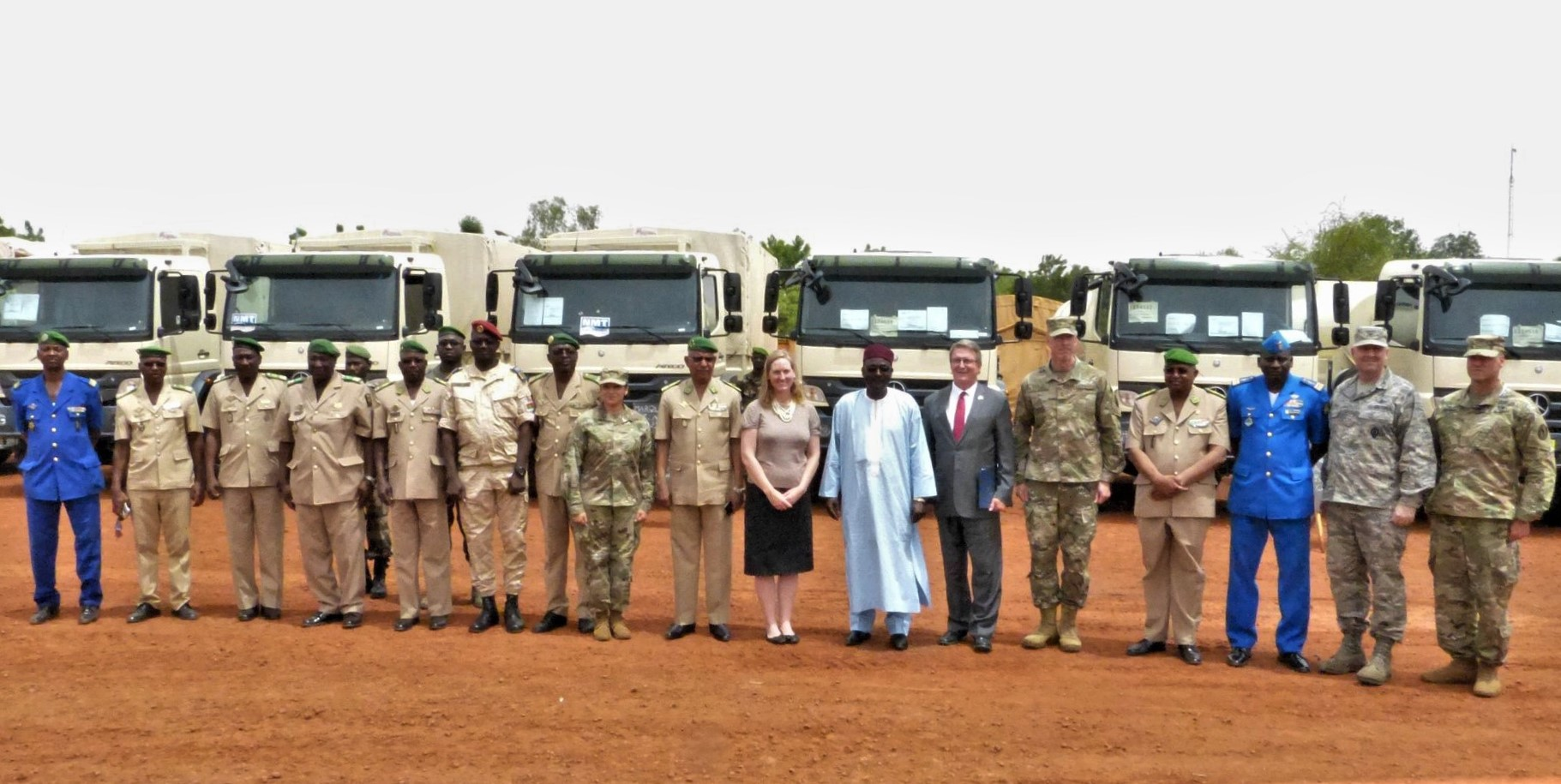 Attendees gather for the G5 Sahel Equipment Handover Ceremony in Niamey, Niger, June 6, 2019. This ceremony commemorated the first shipment of equipment, including transport, fuel and water trucks; GPS-enabled navigation systems; fuel containers; military tents and individual soldier equipment, the U.S. has sent to Niger its effort to support the G5 Sahel. (Courtesy photo)