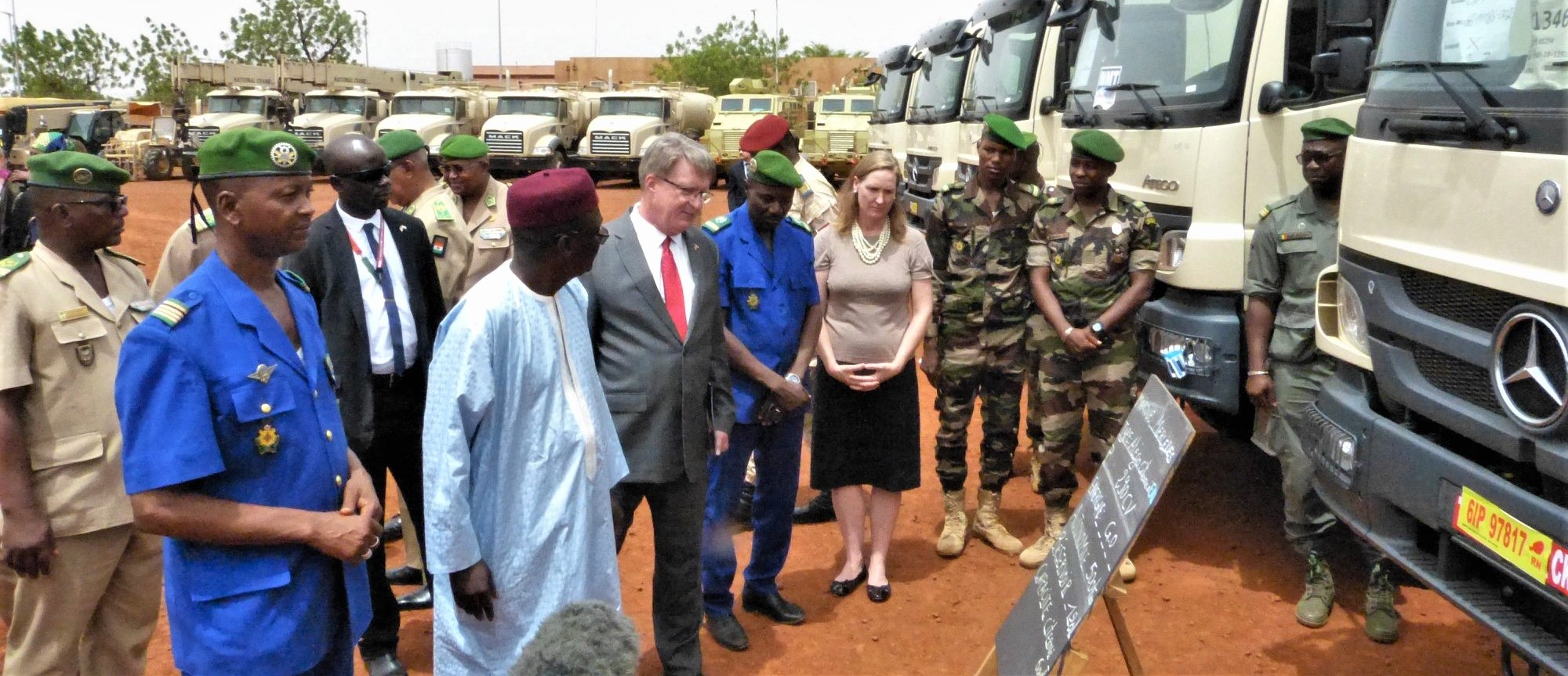 Attendees gather for the G5 Sahel Equipment Handover Ceremony in Niamey, Niger, June 6, 2019. This ceremony commemorated the first shipment of equipment, including transport, fuel and water trucks; GPS-enabled navigation systems; fuel containers; military tents and individual soldier equipment, the U.S. has sent to Niger in its effort to support the G5 Sahel. (Courtesy photo)