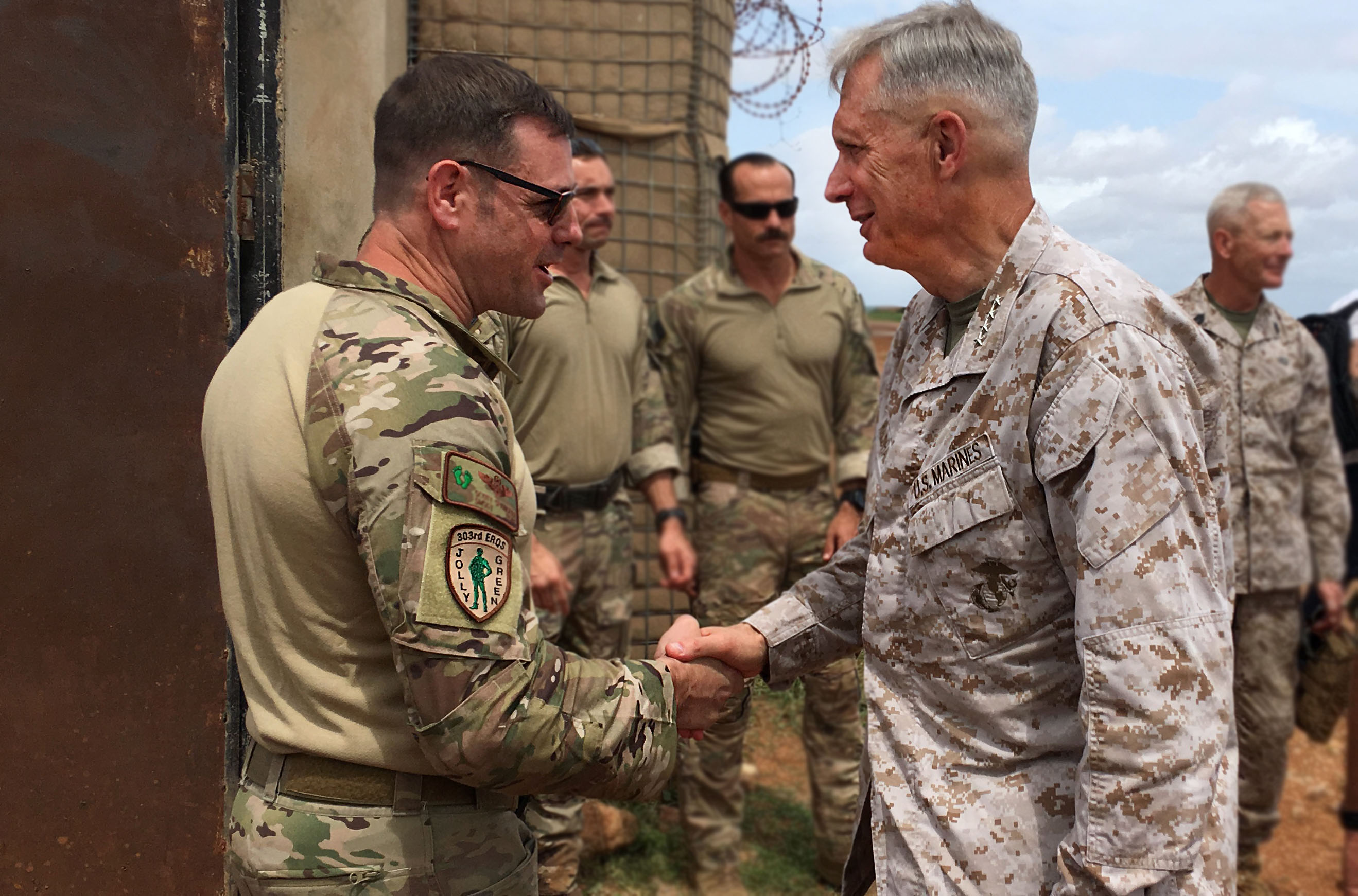 U.S. Marine Corps Gen. Thomas Waldhauser, commander, U.S. Africa Command, thanks U.S. Africa Command forces at a forward operating location in Somalia, June 11, 2019. Waldhauser visited the forward deployed unit to assess progress in enhancing Somali defense capabilities.