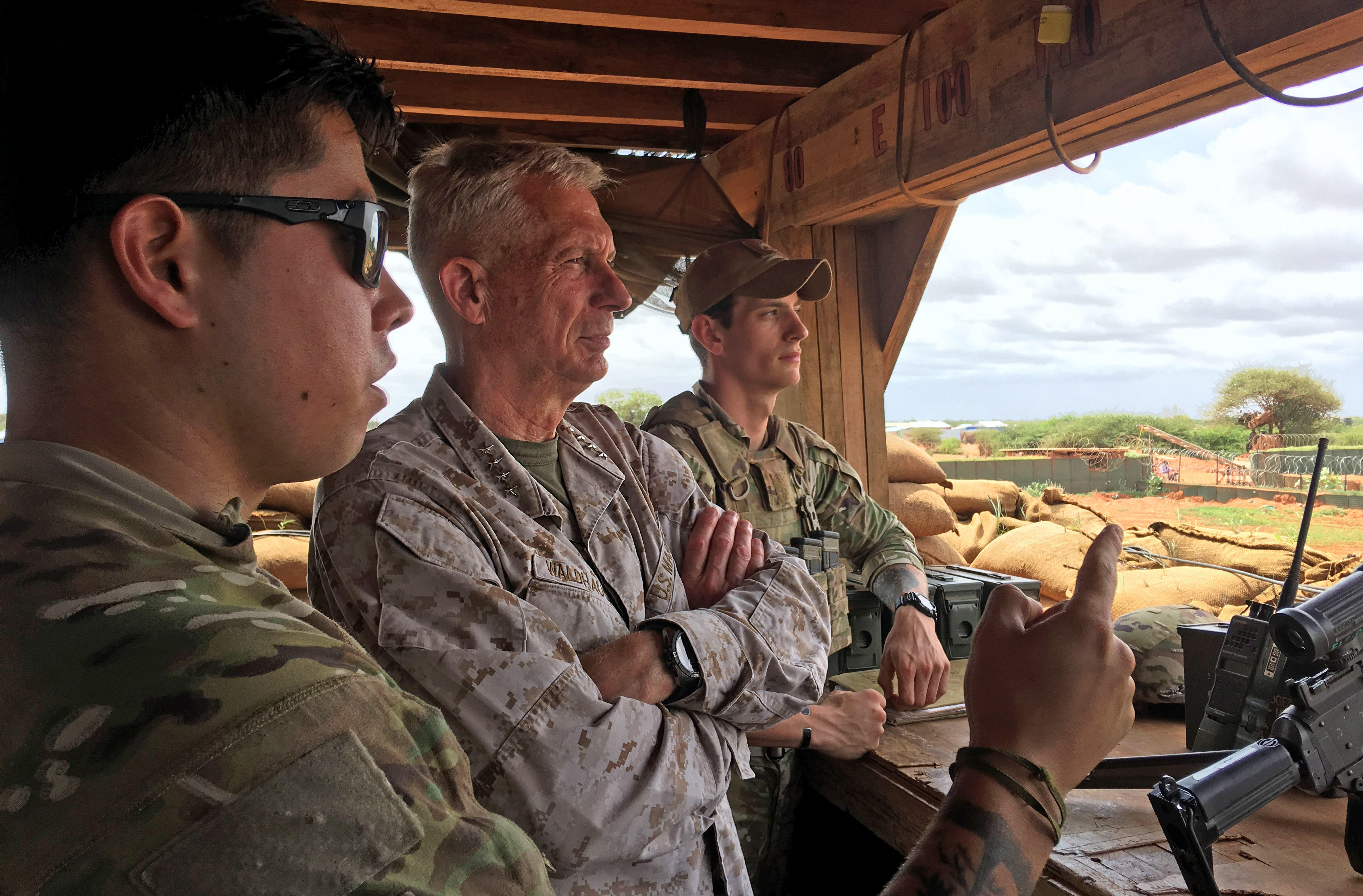 U.S. Marine Corps Gen. Thomas Waldhauser, commander, U.S. Africa Command, visited U.S. Africa Command forces at a forward operating location in Somalia, June 11, 2019. U.S. Africa Command is involved in various advise, assist and training programs in Somalia. The desired future state in East Africa is one in which terrorist organizations are not able to destabilize Somalia or its neighbors, nor threaten U.S. and international allies interests' in the region.