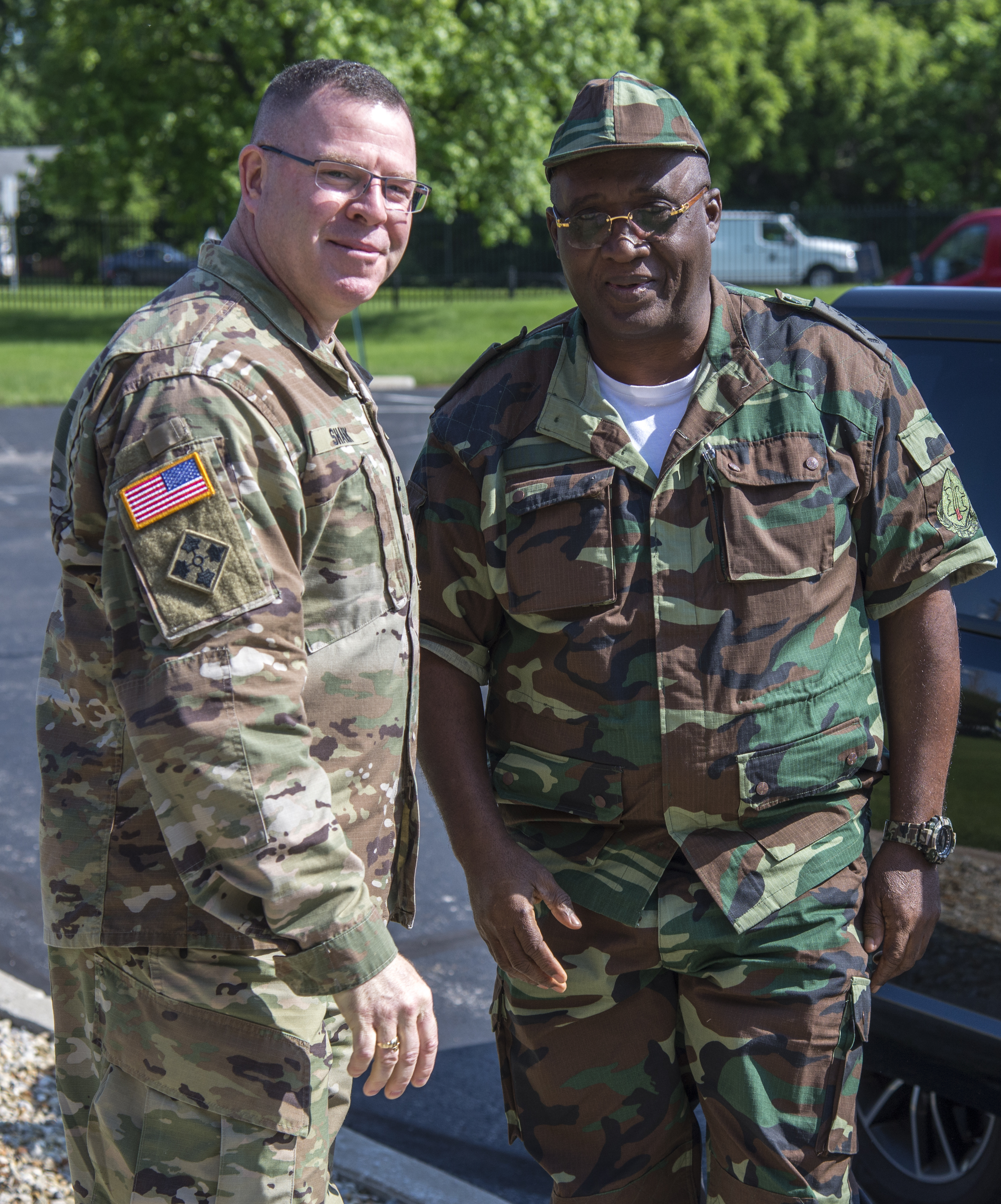 Col. Daniel Shank (left), Ohio assistant adjutant general for Army, greets Gen. Jaques Raul, deputy land forces commander of the Angolan Armed Forces, as his delegation arrives at the Maj. Gen. Robert S. Beightler Armory in Columbus, Ohio, June 4, 2019. The State Partnership Program hosted the delegation at the request of U.S. Army Africa, enabling meetings and discussions between Angolan military and Ohio National Guard leadership.