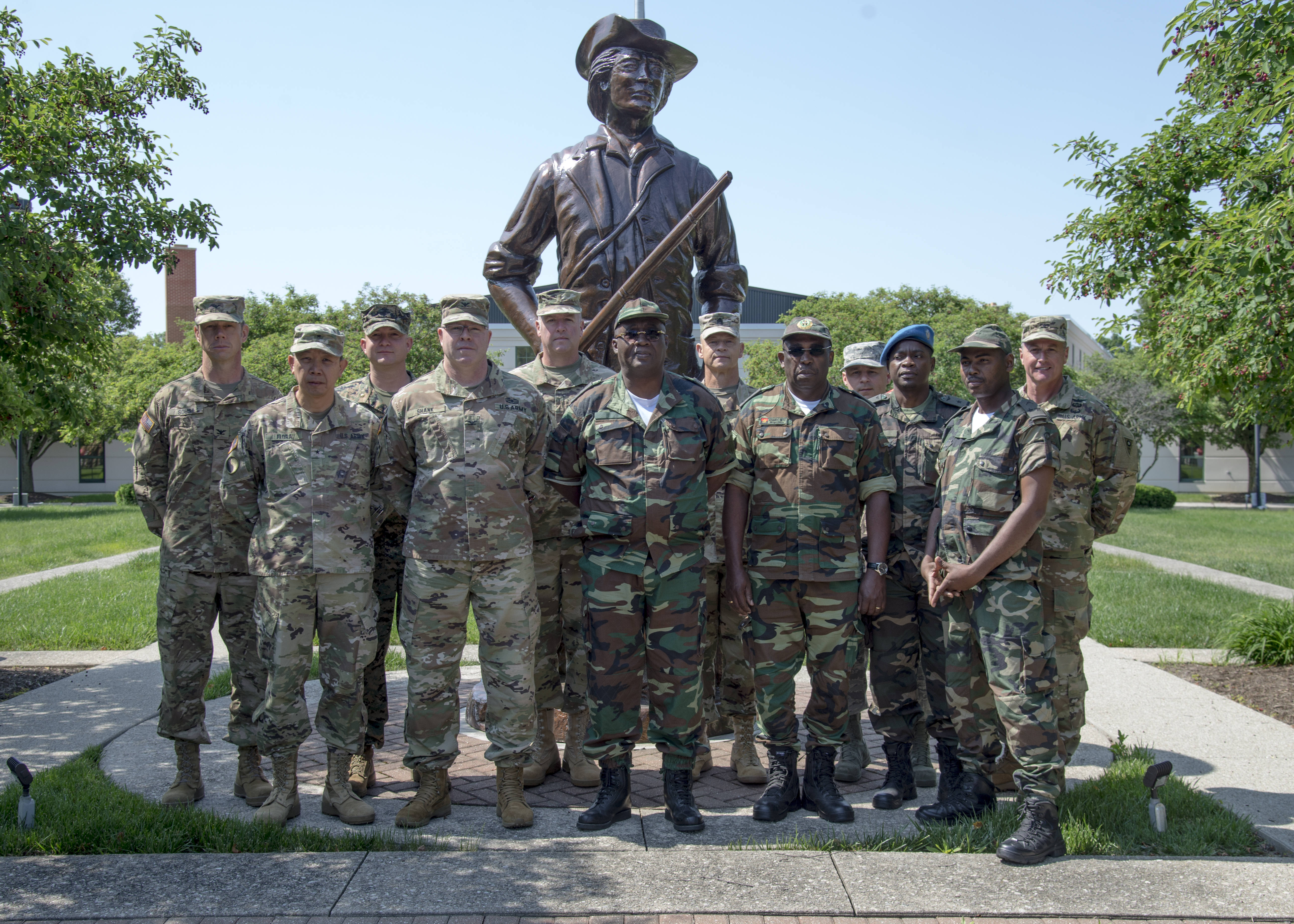 Members of an Angolan Armed Forces delegation visiting the U.S., along with their embassy and defense attachés, stand with Ohio National Guard senior leaders outside of the Joint Force Headquarters at the Maj. Gen. Robert S. Beightler Armory in Columbus, Ohio, June 4, 2019. The State Partnership Program hosted the delegation at the request of U.S. Army Africa, enabling meetings and discussions between Angolan military and Ohio National Guard leadership.