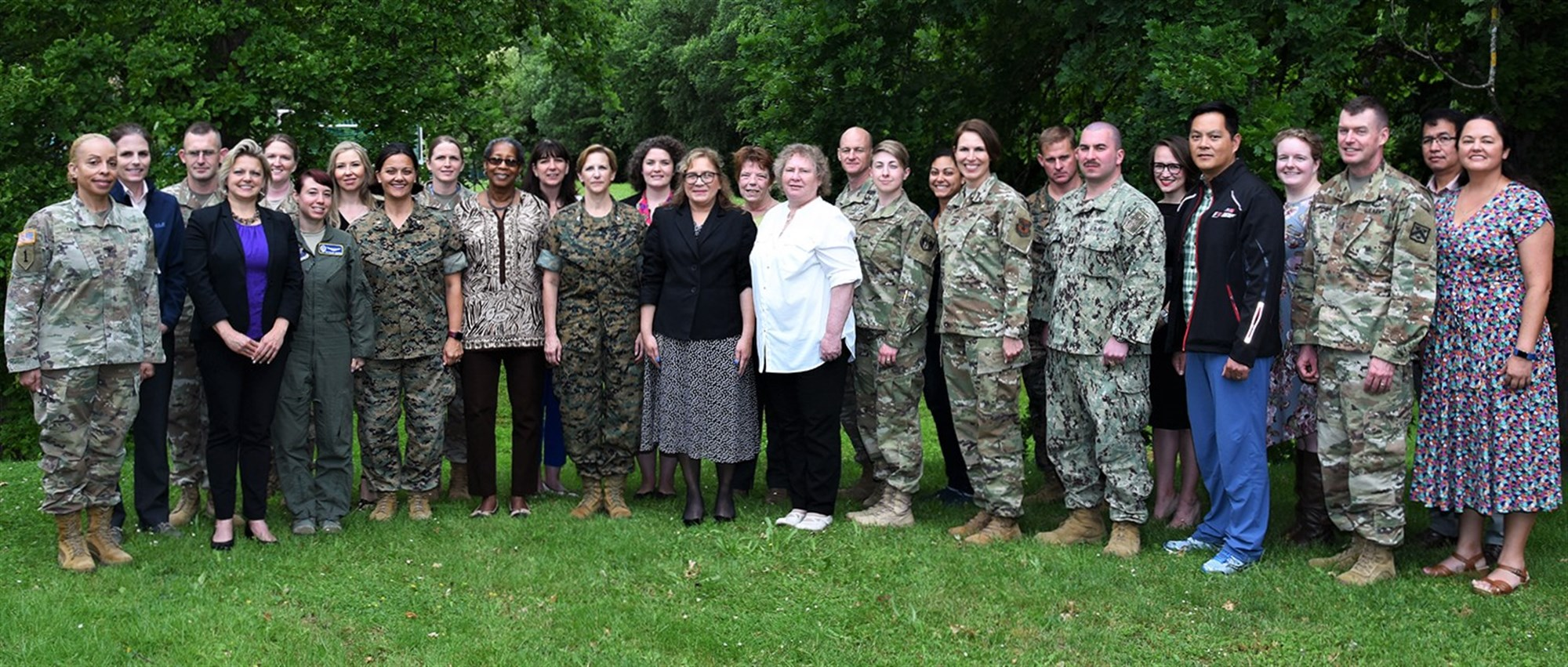Graduates and Instructors of the first U.S. Africa Command - U.S. European Command hosted Operational Gender Advisor Course pose for a photo June 14, 2019 in Stuttgart, Germany. The course was developed by the Joint Chiefs of Staff to train U.S. military and civilian personnel to serve as gender advisors or human security focal points during an operational deployment or at the combatant command and component level. (Courtesy photo)