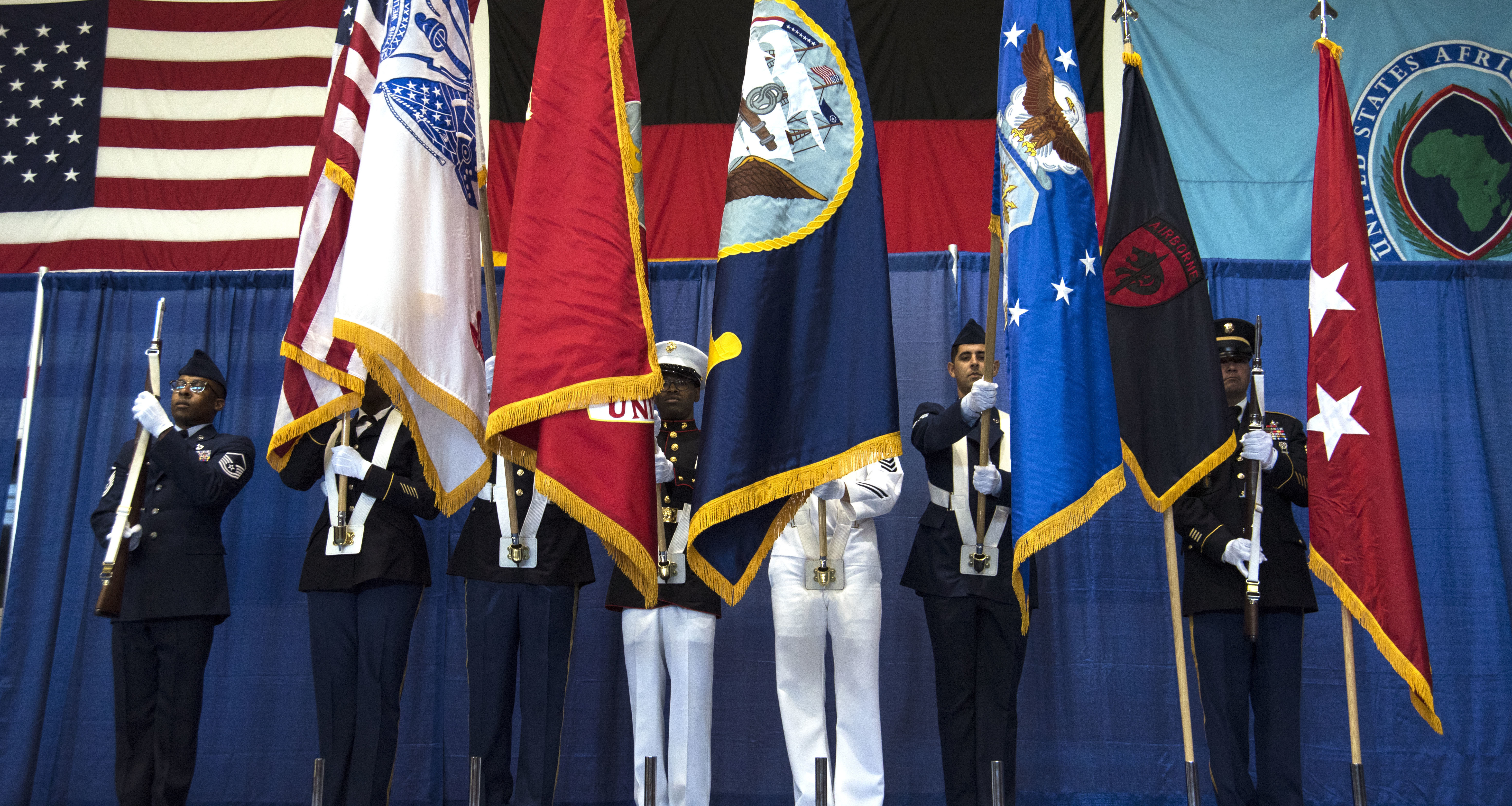 The colors are displayed during a change of command ceremony for Special Operations Command Africa at Kelley Barracks, Stuttgart, Germany, June 28, 2019. Special Operations Command Africa supports U.S. Africa Command by counter violent extremist organizations, building the military capacity of key partners in Africa and protecting U.S. personnel and facilities. (U.S. Navy photo by Mass Communication Specialist 1st Class Christopher Hurd/Released)