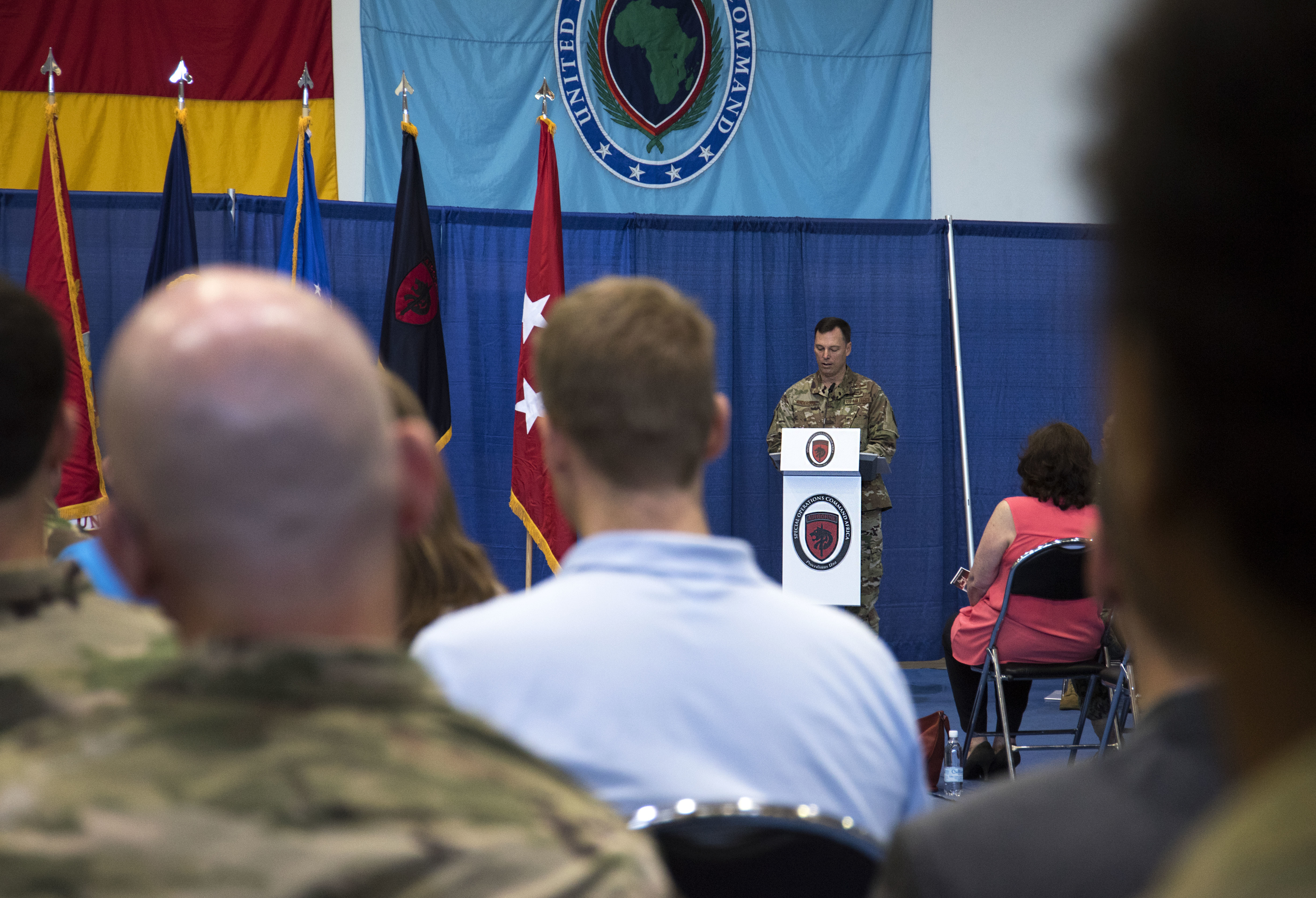 U.S. Air Force Brig. Gen. Dagvin R.M. Anderson, incoming commander of Special Operations Command Africa, speaks during a change of command ceremony for SOCAFRICA at Kelley Barracks, Stuttgart, Germany, June 28, 2019. Special Operations Command Africa supports U.S. Africa Command by counter violent extremist organizations, building the military capacity of key partners in Africa and protecting U.S. personnel and facilities. (U.S. Navy photo by Mass Communication Specialist 1st Class Christopher Hurd/Released)