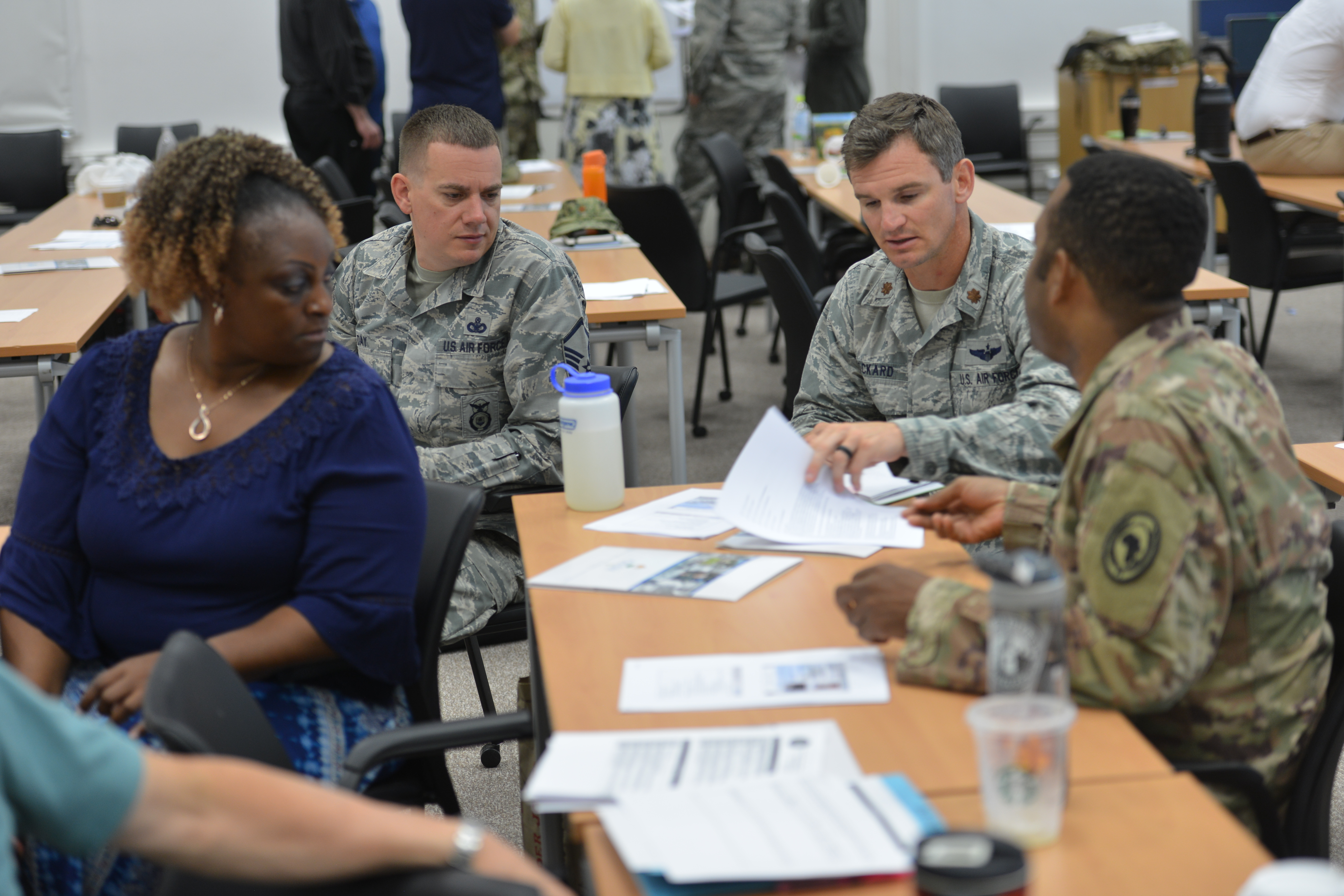 STUTTGART, Germany—Staff members from U.S. Africa Command work as a team to complete a group assignment on humanitarian assistance and disaster relief response at the Humanitarian Assistance Response Training Course, June 26, 2019, at the Kelley Special Events Center, Stuttgart, Germany. AFRICOM held the HART event June 25-28, 2019, to train AFRICOM staff members on humanitarian assistance and disaster relief response. (Photo by Staff Sgt. Grady Jones, Public Affairs, AFRICOM)