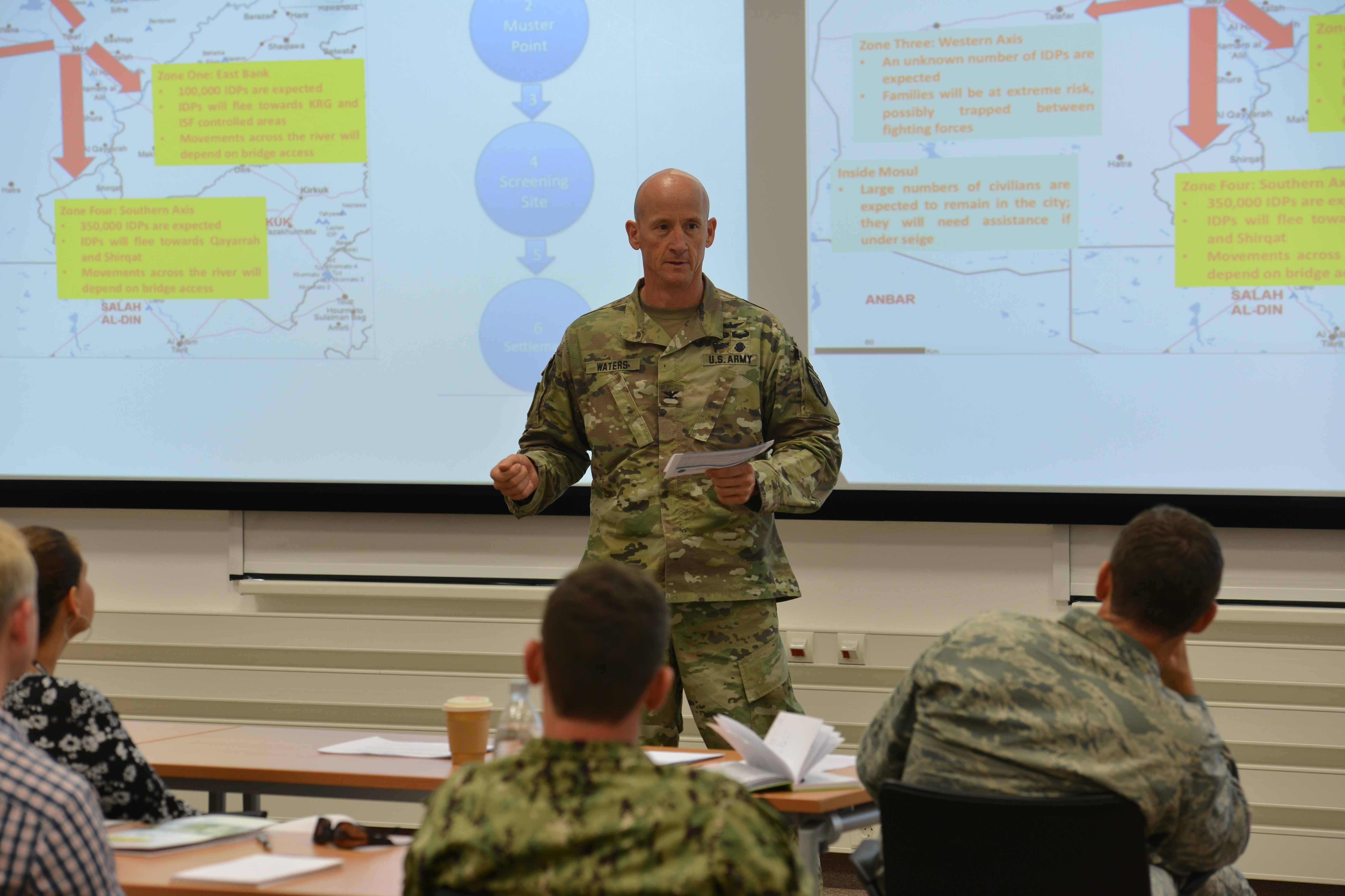 STUTTGART, Germany—Col Rodger Waters, U.S. European Command, Directorate of Resources Assessments J5, addresses the participants at the Humanitarian Assistance Response Training Course, at the Kelley Special Events Center, Stuttgart, Germany, June 25, 2019. AFRICOM held the HART event June 25-28, 2019, to train AFRICOM staff members on humanitarian assistance and disaster relief response. (Photo by Staff Sgt. Grady Jones, Public Affairs, AFRICOM)