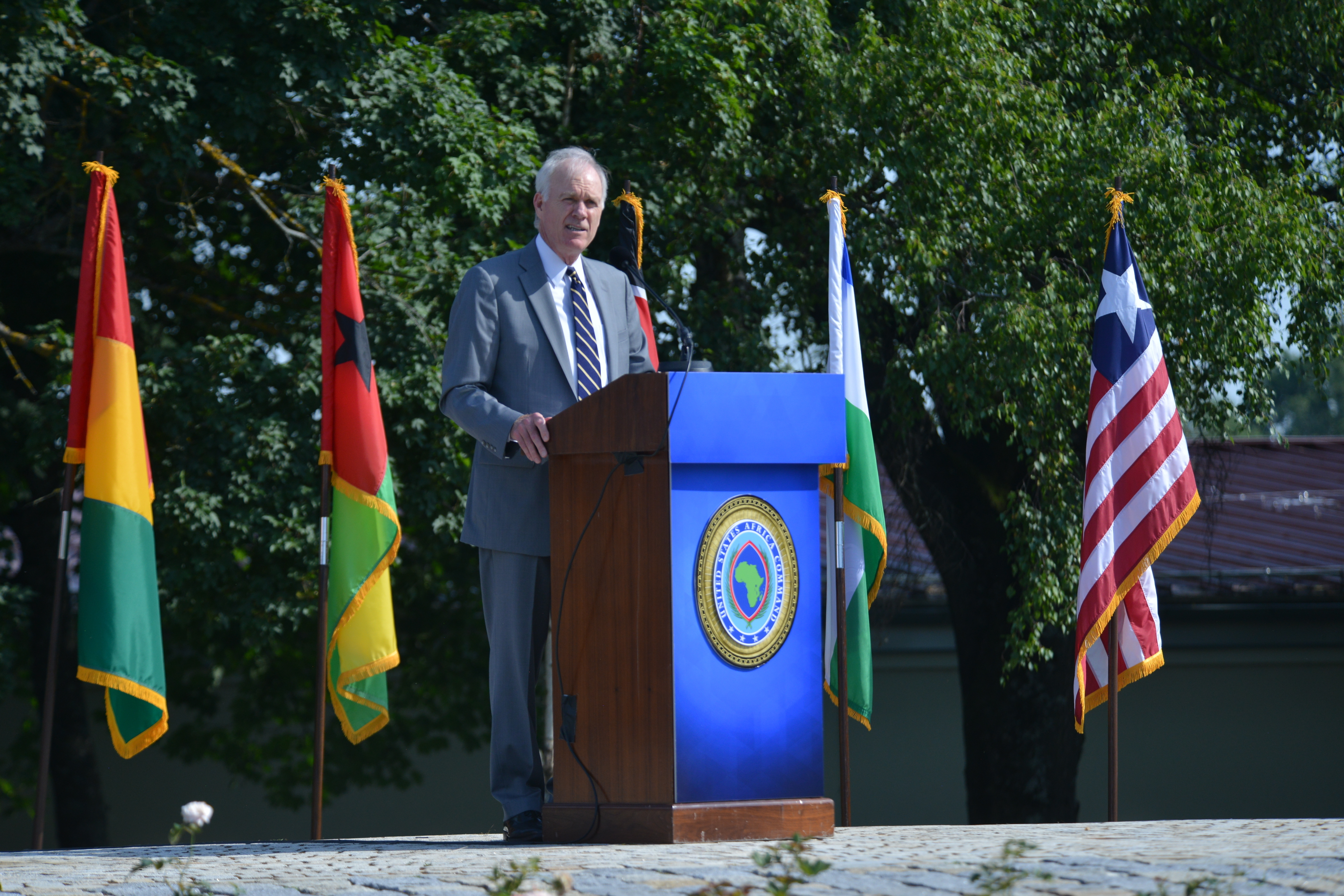 Performing the Duties of the Deputy Secretary of Defense Richard V. Spencer speaks during the AFRICOM change of command ceremony at Patch Barracks in Stuttgart, Germany, July 26, 2019. AFRICOM is one of six of the U.S. Defense Department's geographic unified commands and is responsible to the Secretary of Defense for military relations with African nations, the African Union, and African regional security organizations. (U.S. Army photo by Staff Sgt. Grady Jones/Released)