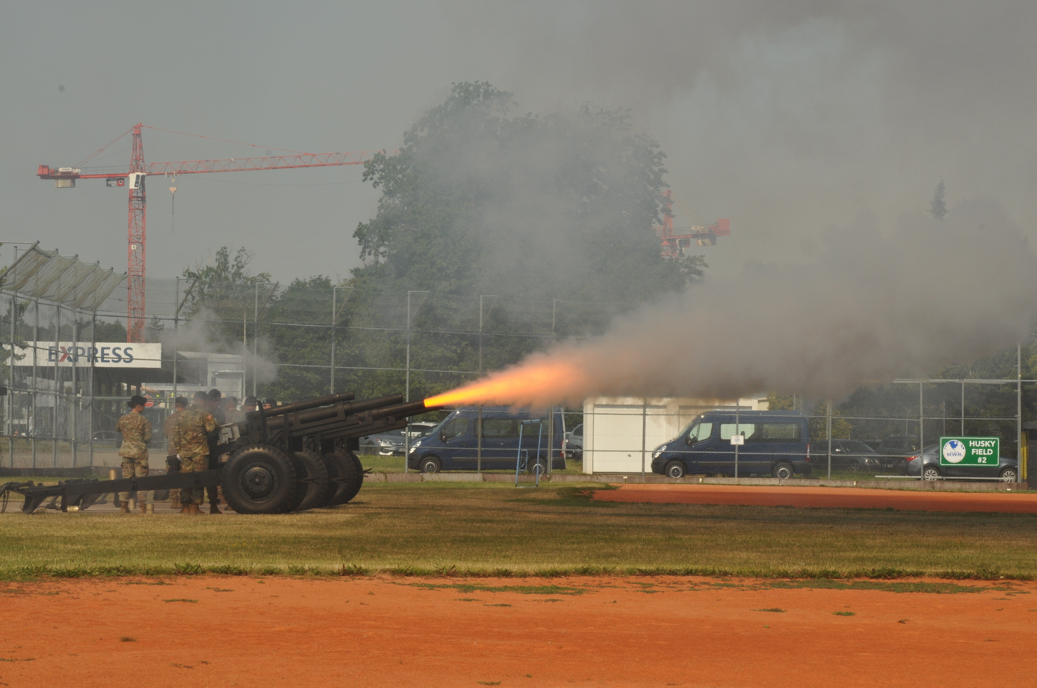 Service members fire a 19 round gun salute during the U.S. Africa Command change of command ceremony at Patch Barracks in Stuttgart, Germany, July 26, 2019. AFRICOM is one of six of the U.S. Defense Department's geographic unified commands and is responsible to the Secretary of Defense for military relations with African nations, the African Union, and African regional security organizations. (U.S. Army photo by Christian LeBlanc /Released)
