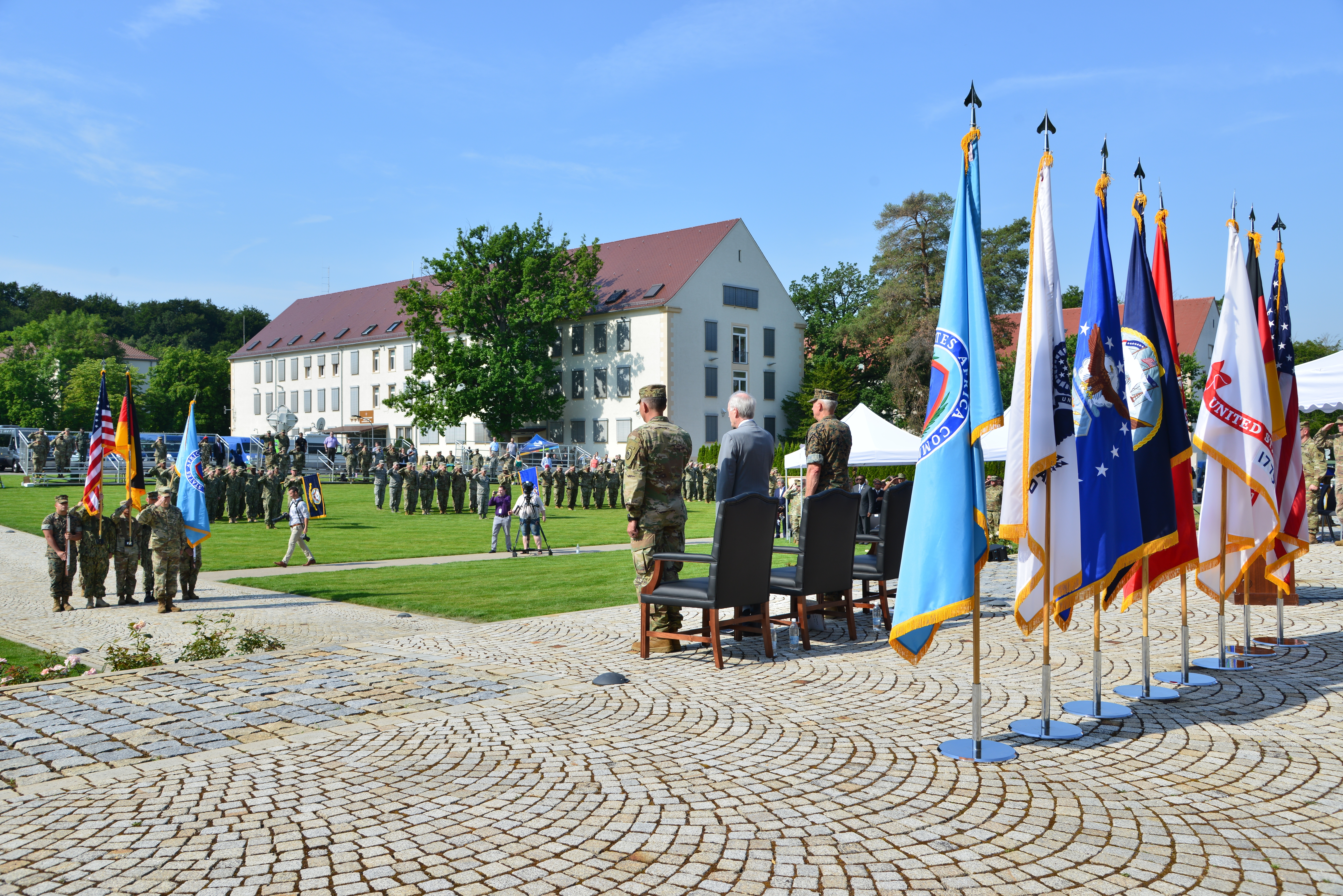 The official party salutes the colors during the U.S. Africa Command change of command at Patch Barracks in Stuttgart, Germany, July 26, 2019. AFRICOM is one of six of the U.S. Defense Department's geographic unified commands and is responsible to the Secretary of Defense for military relations with African nations, the African Union, and African regional security organizations. (U.S. Army photo by Ray Raymond/Released)