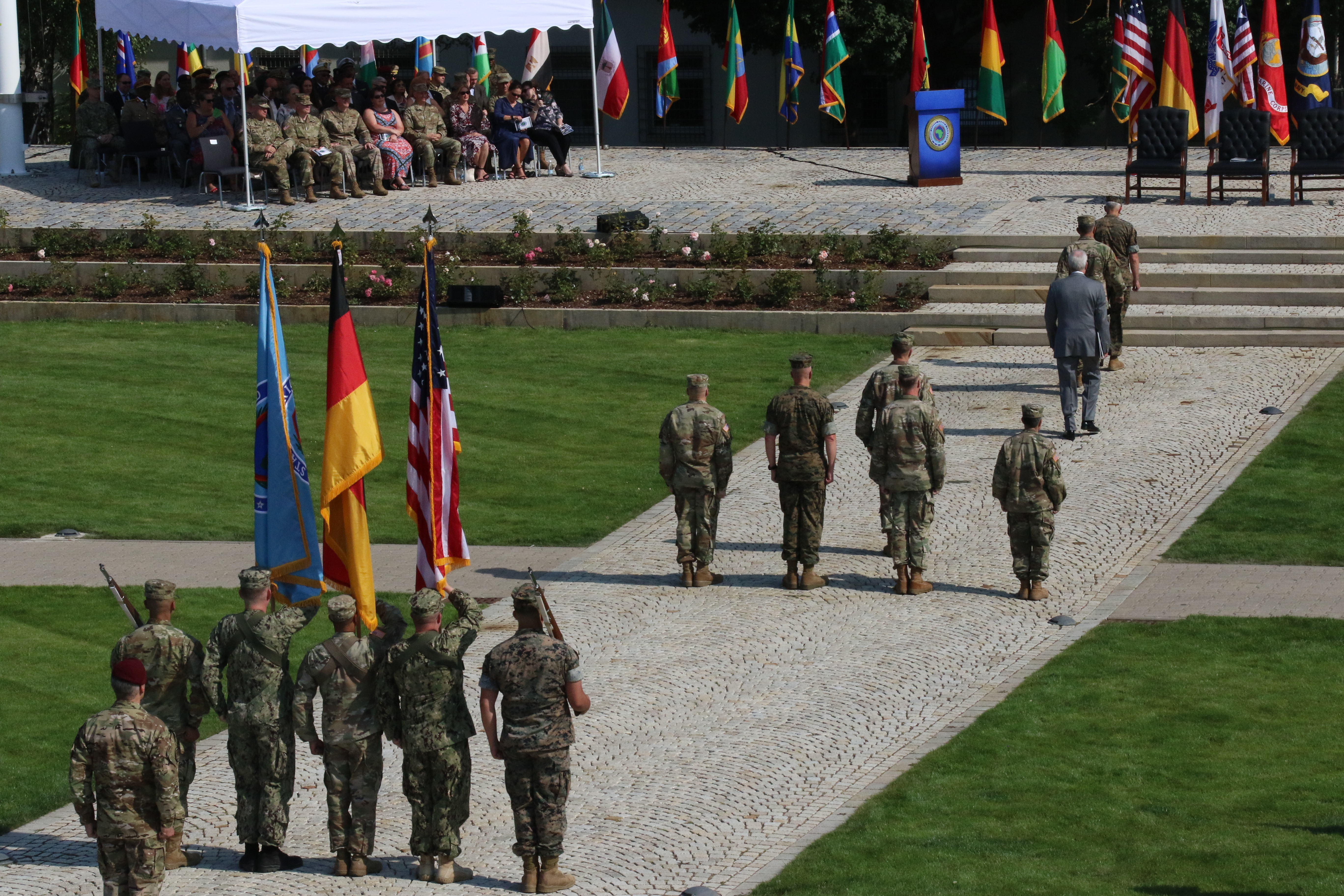 The official party arrives for the U.S. Africa Command change of command at Patch Barracks in Stuttgart, Germany, July 26, 2019. AFRICOM is one of six of the U.S. Defense Department's geographic unified commands and is responsible to the Secretary of Defense for military relations with African nations, the African Union, and African regional security organizations. (U.S. Army photo by Kendall Smith/Released)