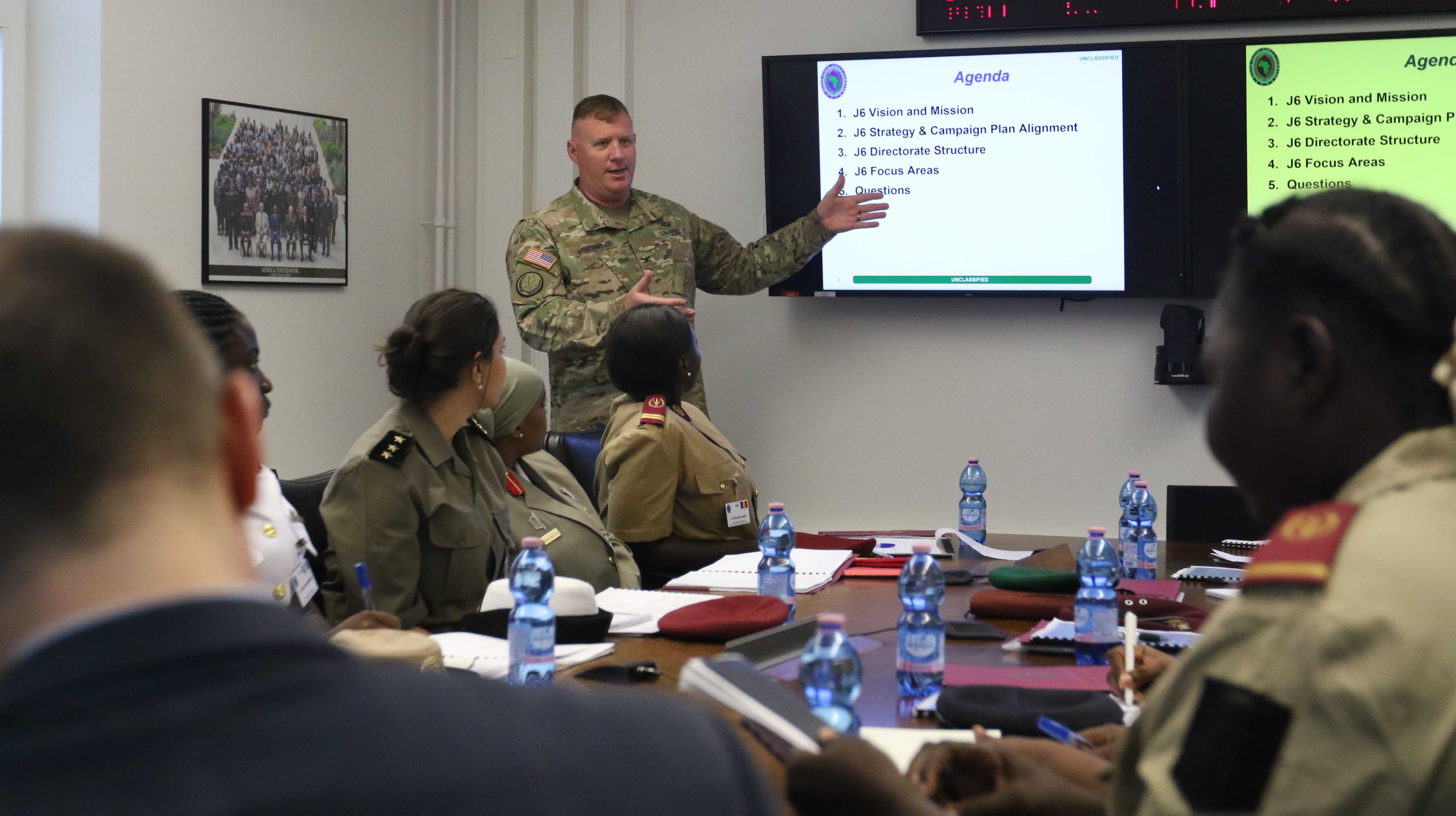 Army Col. Jeffrey Schroeder, Director of C4 Systems-J6, U.S. Africa Command, speaks to the participants of the AFRICOM Women's Communication Symposium, at Kelly Barracks, Stuttgart, Germany, July 29, 2019.