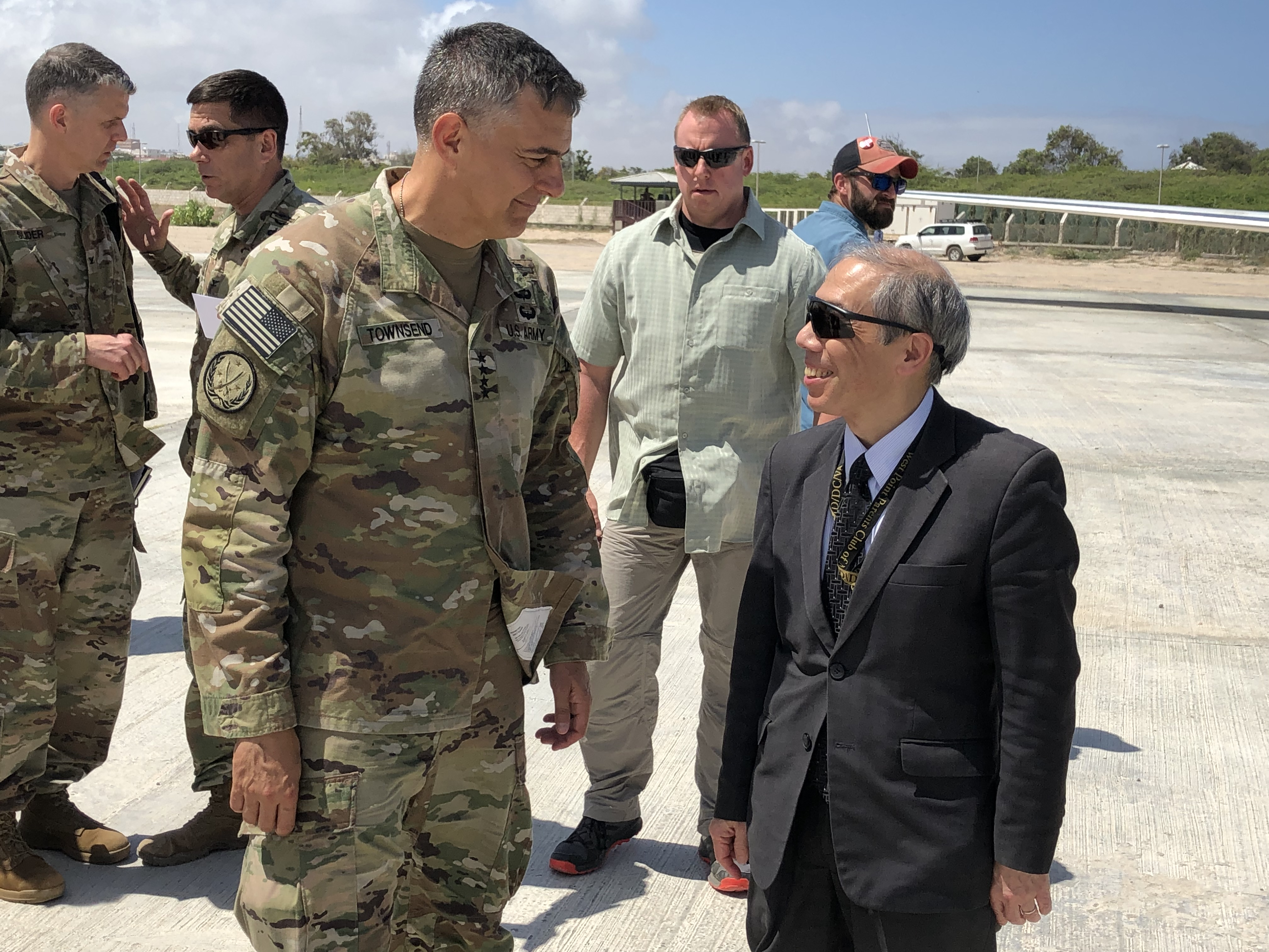 U.S. Army Gen. Stephen Townsend speaks with Amb. Donald Yamamoto, U.S. Ambassdor to Somalia Aug. 7, 2019. Townsend visited Somalia as part of his first trip to the African continent since taking command on July 26.