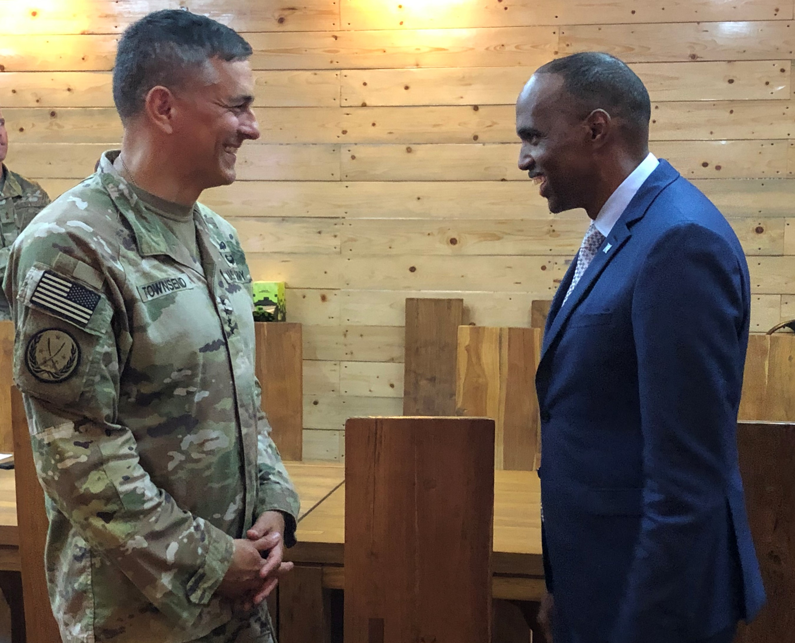 U.S. Army Gen. Stephen Townsend meets with Somali Prime Minister Hassan Ali Khayre Aug. 7, 2019. Townsend visited Somalia as part of his first trip to the African continent since taking command on July 26.