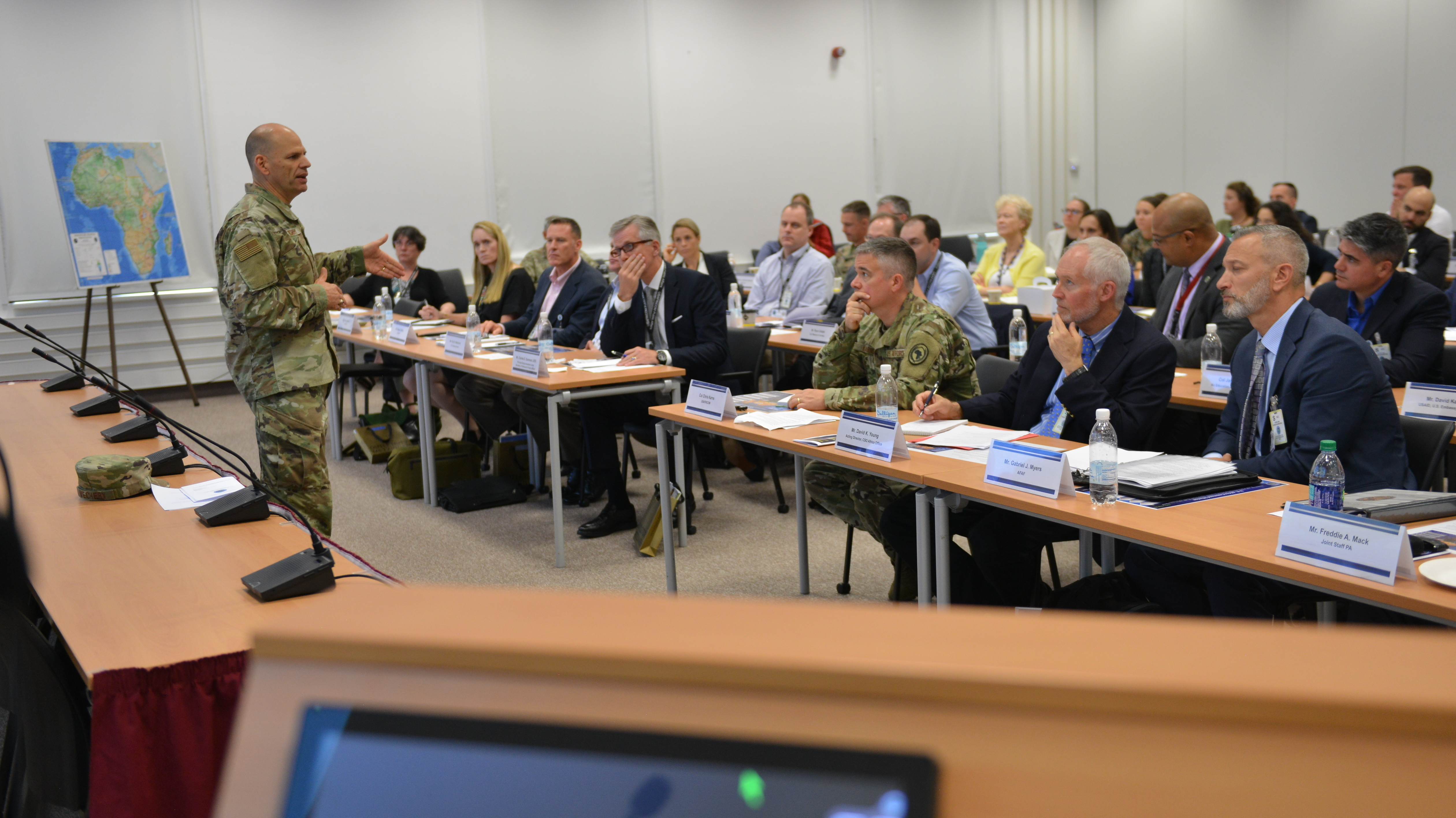STUTTGART, Germany – Air Force Lt. Gen. James Vechery, deputy commander, U.S. Africa Command, addresses attendees of the AFRICOM Public Affairs Communicators Symposium, July 31, 2019 in Stuttgart, Germany. 