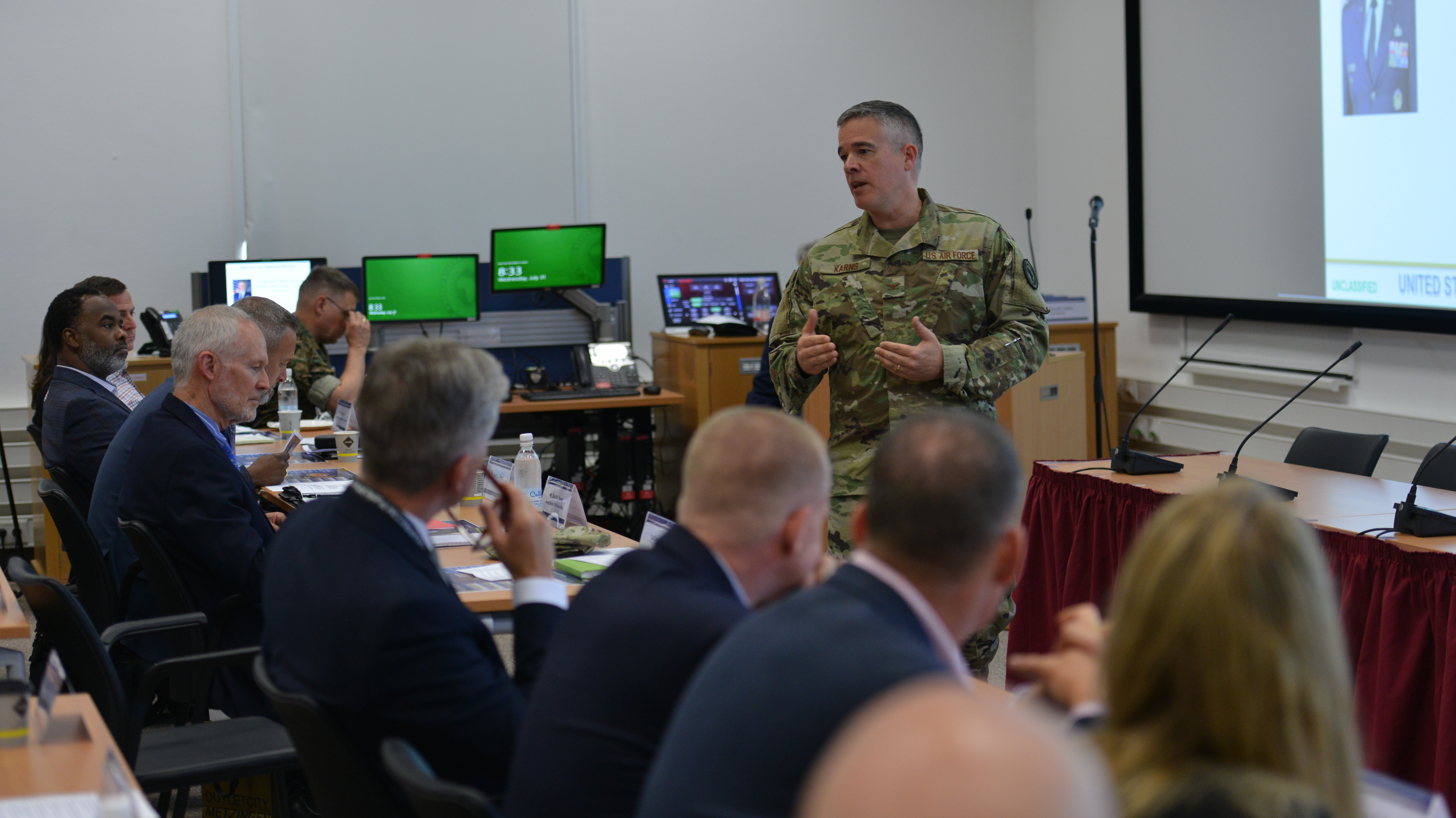 STUTTGART, Germany – Air Force Col. Christopher Karns, director, Public Affairs and Communication Synchronization, U.S. Africa Command, addresses attendees of the AFRICOM Public Affairs Communicators Symposium, July 31, 2019 in Stuttgart, Germany. 