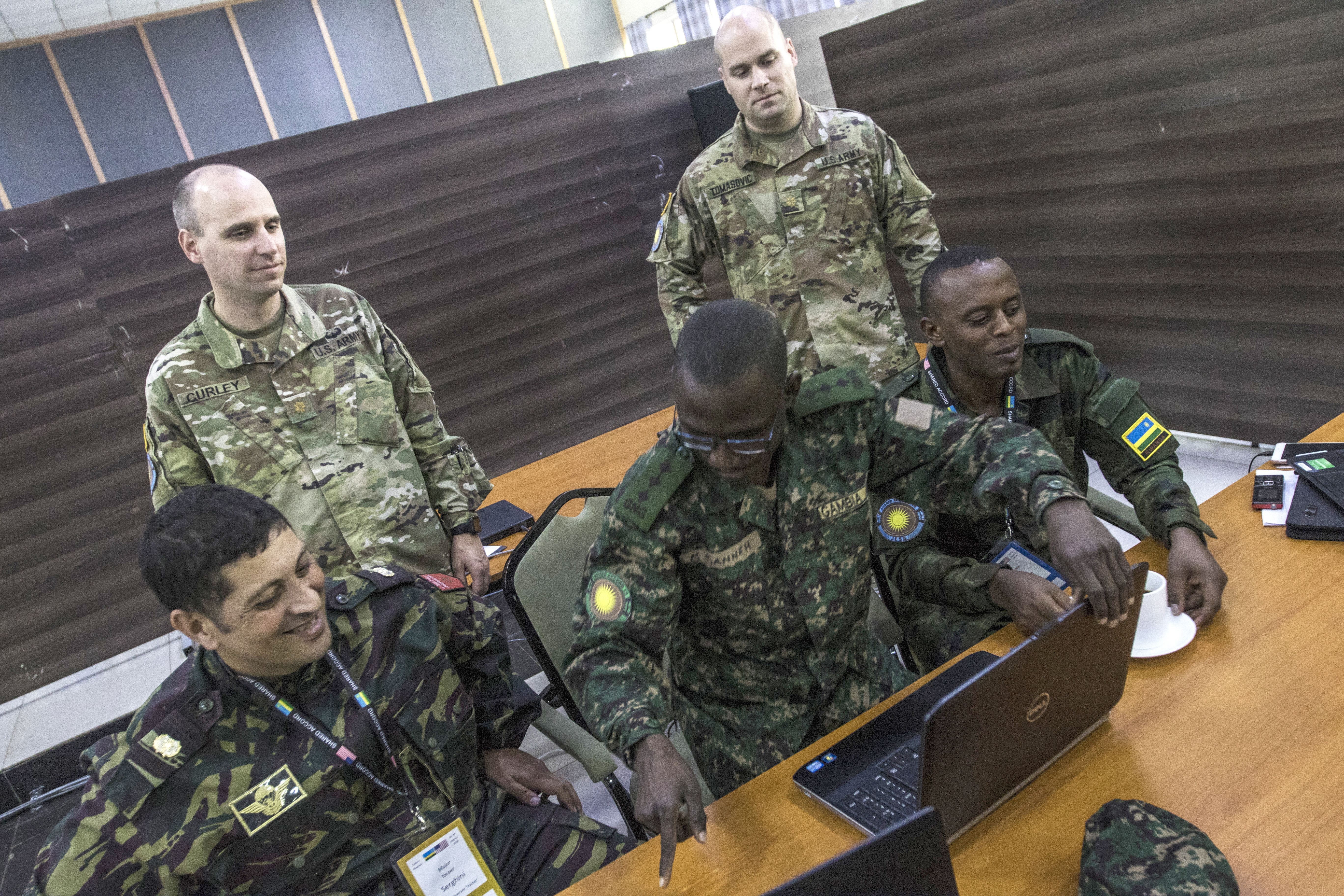 U.S. Army and African legal advisors participate in Shared Accord 19, a multinational military exercise which took place in and around the Rwanda Defense Force Gabiro Training Center, Rwanda, Aug. 14-28, 2019. The exercise, sponsored by U.S. Africa Command and executed by U.S. Army Africa, the Rwanda Defence Force and other partner nations, seeks to improve the interoperability between vested stakeholders by enhancing the capacity and capability of Troop Contributing Counties to the Multidimensional Integrated Stabilization Mission in the Central African Republic. (U.S. Army photo by Sgt. Heather Doppke)
