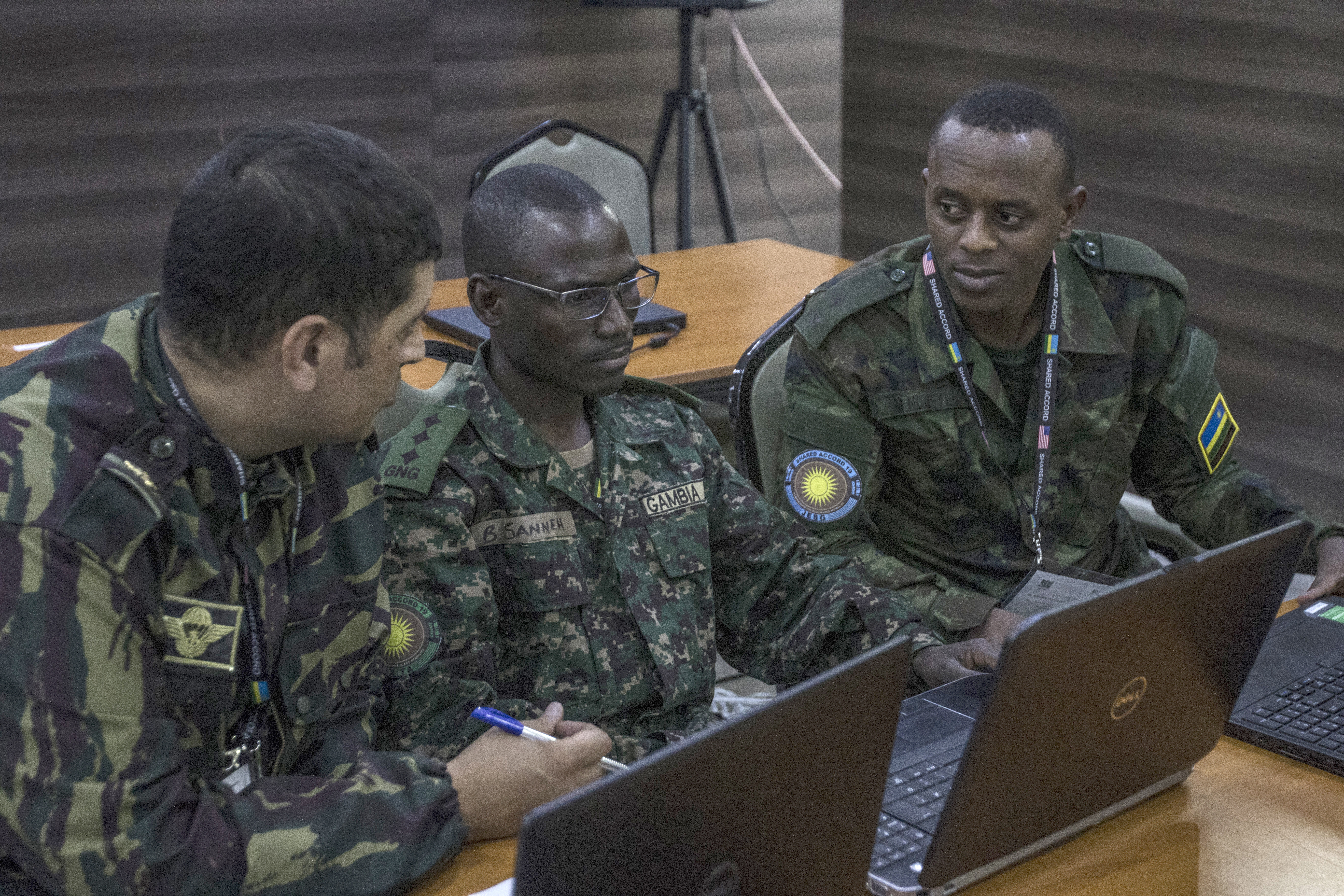 African legal advisors participate in Shared Accord 19, a multinational military exercise which took place in and around the Rwanda Defense Force Gabiro Training Center, Rwanda, Aug. 14-28, 2019. The exercise, sponsored by U.S. Africa Command and executed by U.S. Army Africa, the Rwanda Defence Force and other partner nations, seeks to improve the interoperability between vested stakeholders by enhancing the capacity and capability of Troop Contributing Counties to the Multidimensional Integrated Stabilization Mission in the Central African Republic. (U.S. Army photo by Sgt. Heather Doppke)