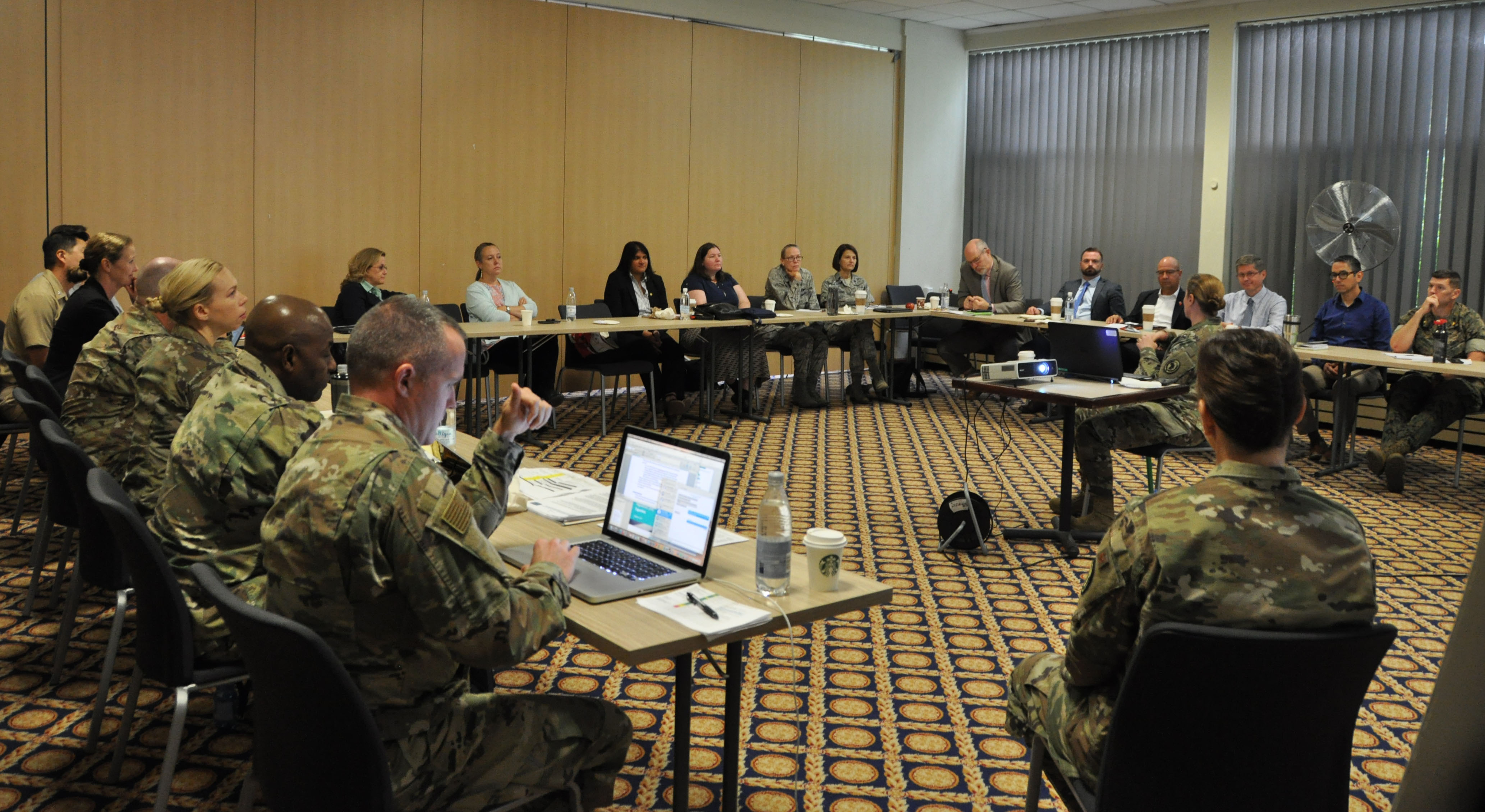 The AFRICOM Office of the Command Surgeon hosted various U.S. agencies during the first ever Infectious Disease Strategic Planning Workshop on Patch Barracks in Stuttgart, Germany, from Sept. 4-6, 2019. The workshop was developed to discuss U.S. government efforts pertaining to infectious disease prevention and response in Africa and included interagency support from the Centers for Disease Control and Prevention, the U.S. Agency for International Development, U.S. Department of State and combat support agency, the Defense Threat Reduction Agency. The workshop will better enable U.S. AFIRCOM to operationalize the U.S. AFRICOM Theater Campaign Plan by modifying their Security Force Assistance strategy. (U.S. Air Force photo by Master Sgt. Megan Crusher)
