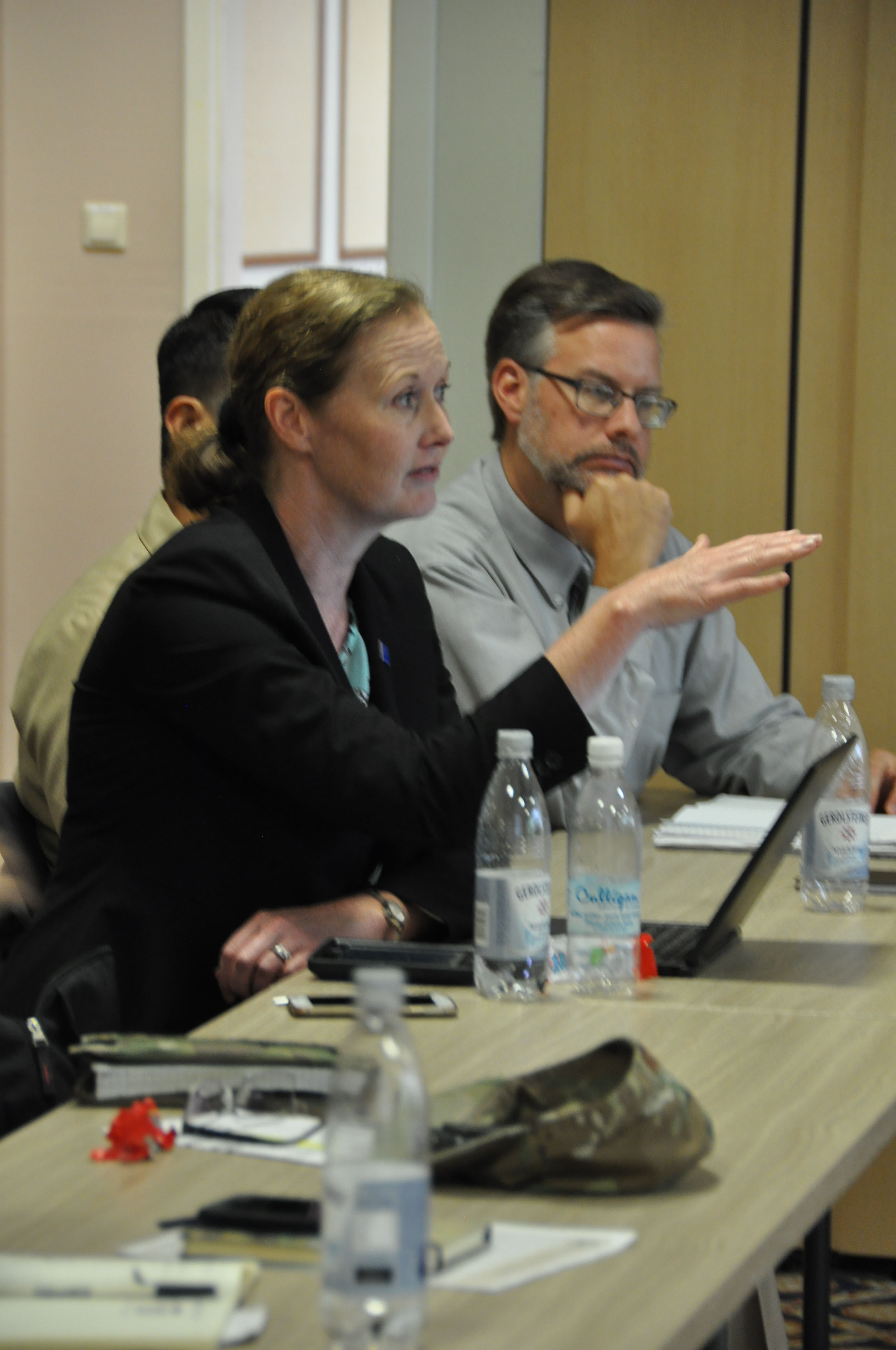 Maureen Bartee, associate director for Global Health Security, Center for Global Health, Centers for Disease Control and Prevention, shares information during a group discussion at the Infectious Disease Strategic Planning Workshop on Patch Barracks in Stuttgart, Germany, Sept. 6, 2019. The CDC was one of several U.S. government organizations in attendance during the three day event where they discussed AFRICOM's intermediate objective for the AFRICOM Theater Campaign Plan. With suggestions from the interagencies, Bartree said they then walked through how AFRICOM can achieve their goals. (U.S. Air Force photo by Master Sgt. Megan Crusher)