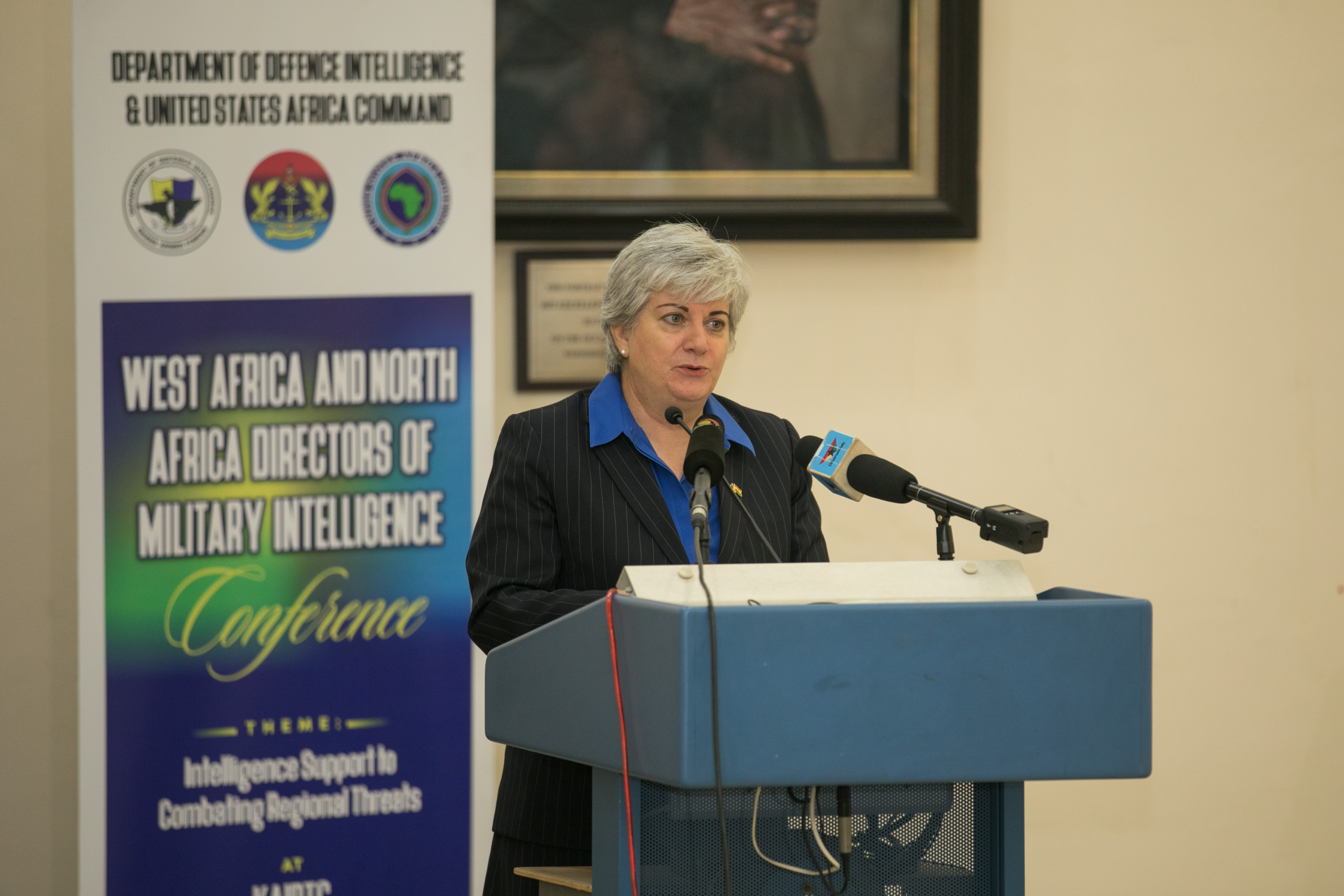 U.S. Ambassador to Ghana, Stephanie S. Sullivan speaks during the opening ceremony of the North and West Africa Directors of Military Intelligence Conference held on September 18, 2019 at the Kofi Annan International Peacekeeping Training Center. (Courtesy photo by Courage Ahiati)