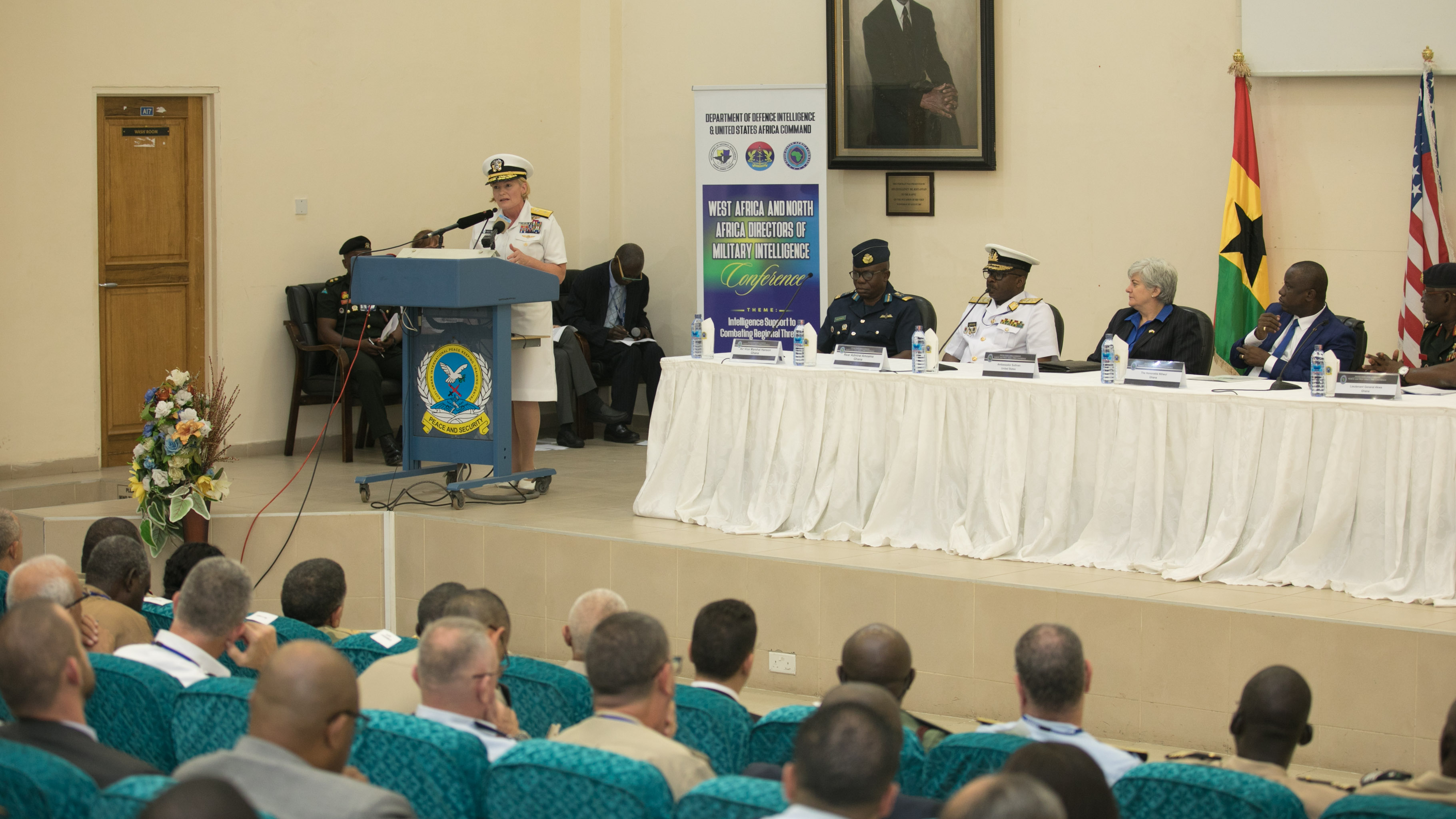 U.S. Africa Command, Director of Intelligence, U.S. Navy Rear Adm. Heidi Berg speaks during the opening ceremony of the North and West Africa Directors of Military Intelligence Conference held on September 18, 2019 at the Kofi Annan International Peacekeeping Training Center. (Courtesy photo by Courage Ahiati)