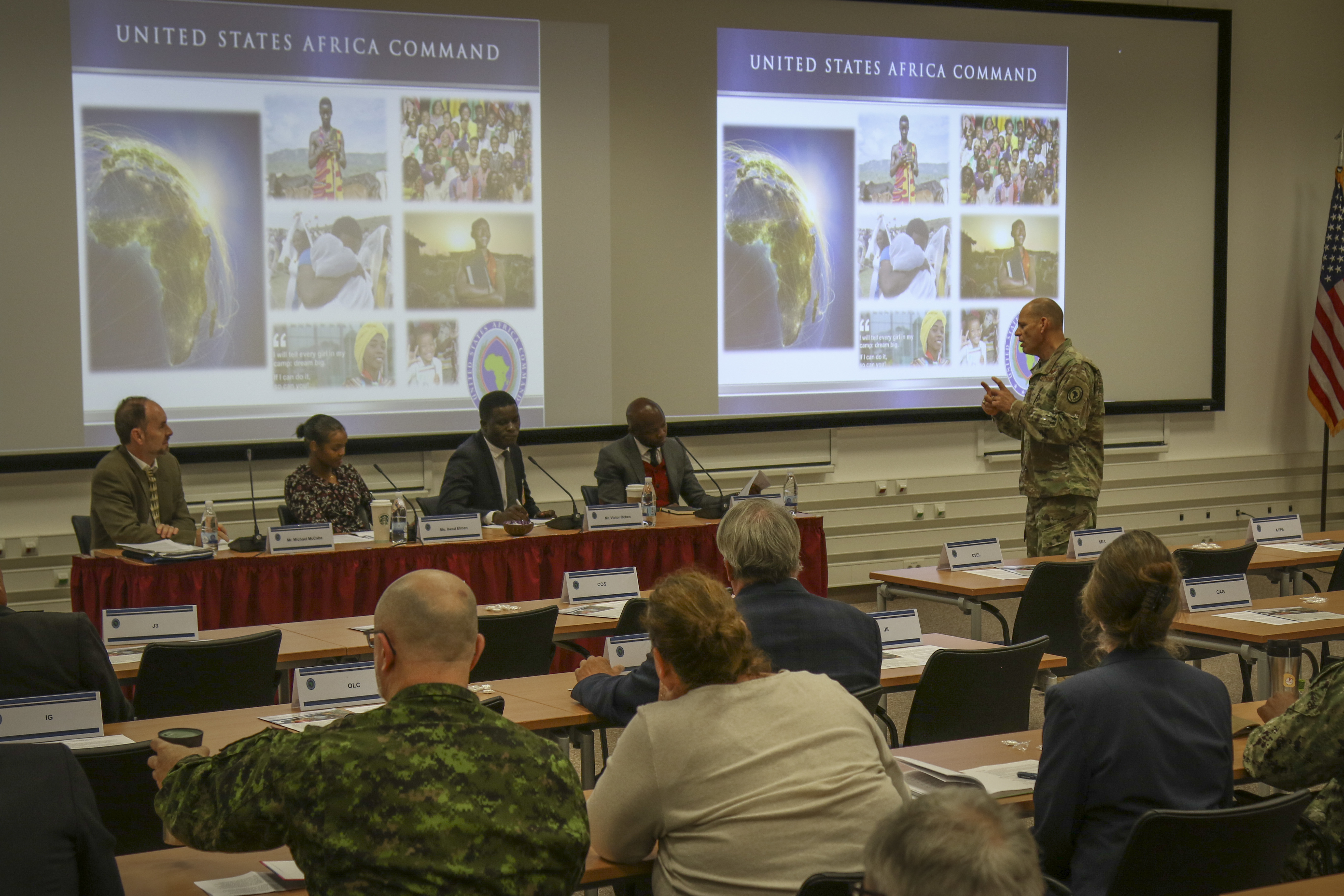 Lt. Gen. James Vechery, deputy to the commander for military operations, U.S. Africa Command, introduces the Youth, Peace and Security panel guest speakers in Stuttgart, Germany, Oct. 15, 2019. The trio of speakers, whose accolades include Nobel Peace Prize nominations, advocate for developing African youth leaders to promote peace throughout the continent.