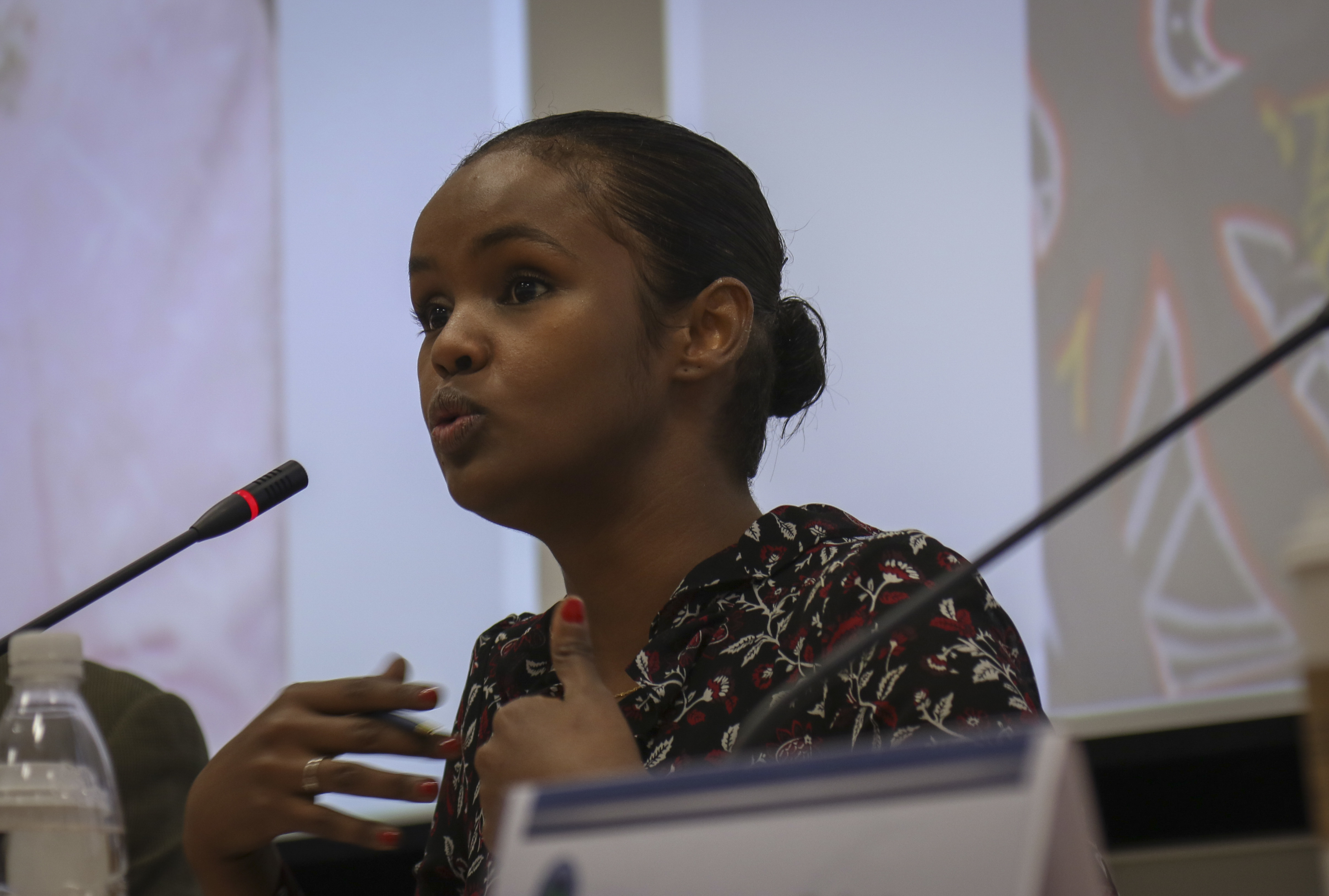Ilwad Elman, director of programs and development for the Elman Peace and Human Rights Center in Somalia, speaks during a Youth, Peace and Security in Africa dialogue held in Stuttgart, Germany, Oct. 15, 2019. Elman, a 2019 Nobel Peace Prize nominee from Somalia, spoke about incorporating youth into policy decisions and actions as a means to counter violent extremism and promote peace throughout the continent.