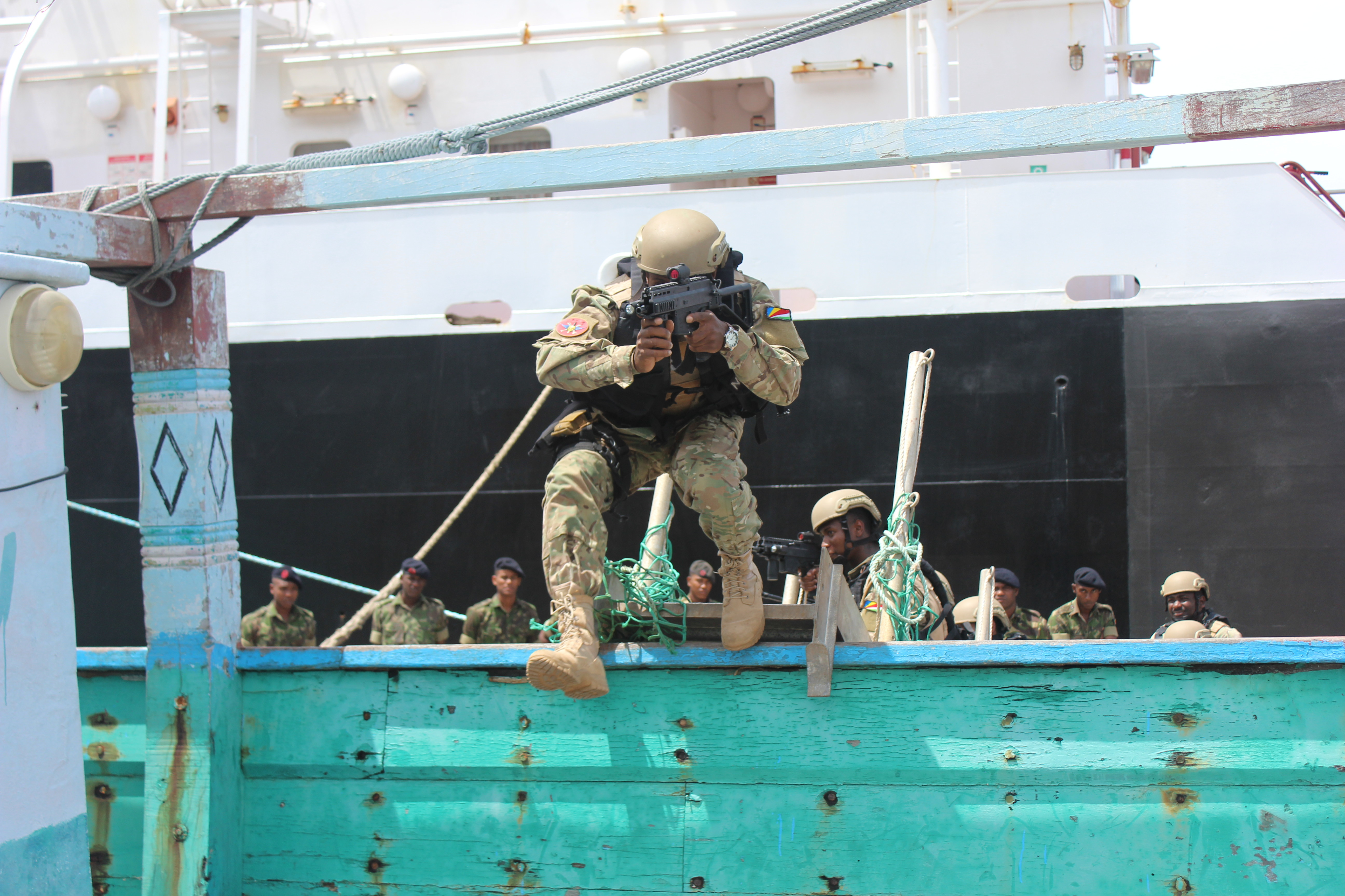 Seychelles Coast Guardsmen simulate boarding a vessel during a subject matter expert exchange with the U.S. Coast Guard as part of Africa Maritime Law Enforcement Program while in Victoria, Seychelles, Sept. 24, 2019. AMPLEP is a U.S. Naval Forces Africa-facilitated initiative that aims to enhance the maritime law enforcement capabilities of African partners in order to improve management and security of the maritime domain.
