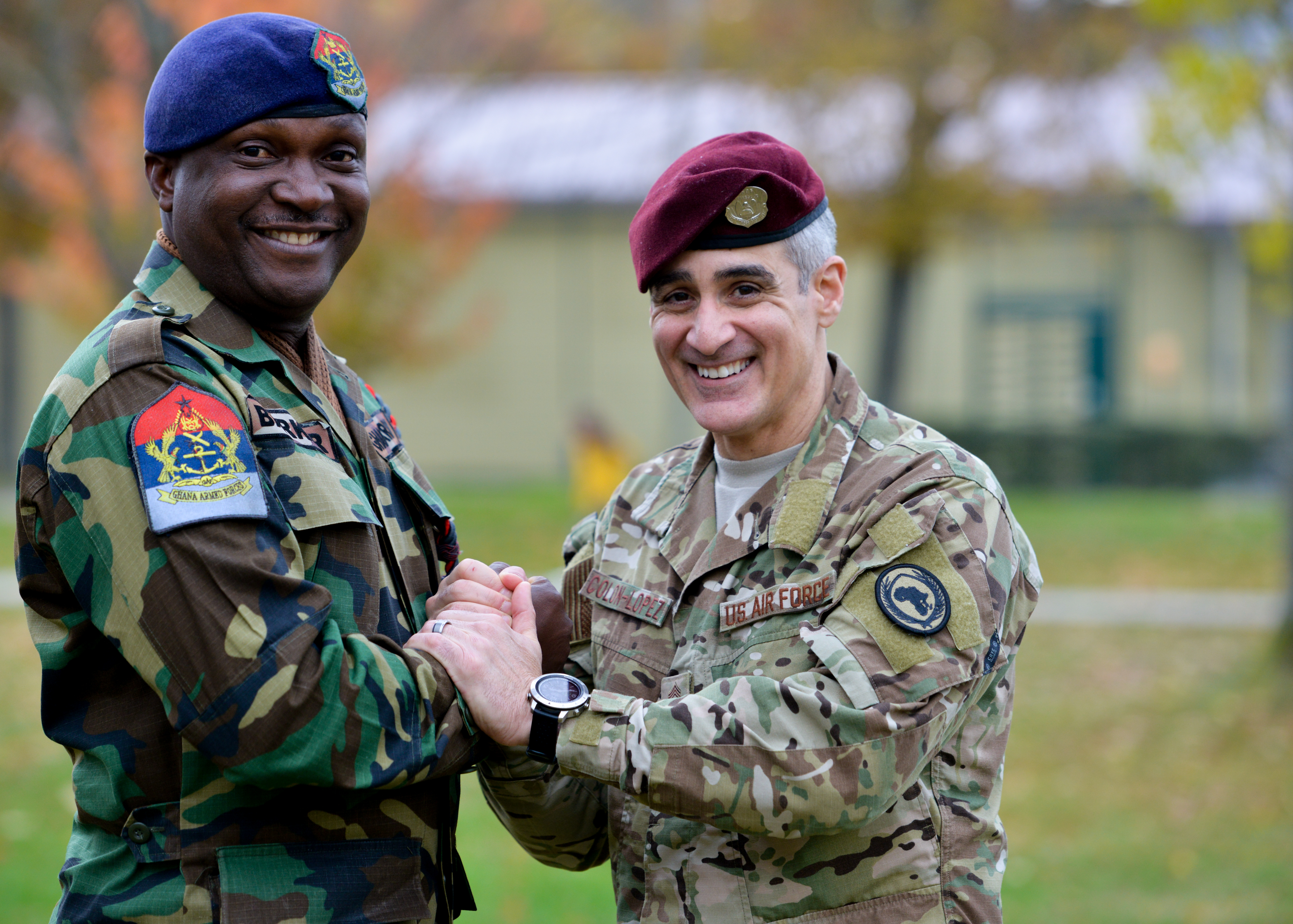 U.S. Air Force Chief Master Sgt. Ramon Colon-Lopez, outgoing command senior enlisted leader, U.S. Africa Command, poses for a photo with Chief Warrant Officer Ramous Barker, forces sergeant major of the Ghana Armed Forces following a relinquishment of responsibility ceremony Nov. 15, 2019 in Stuttgart, Germany.