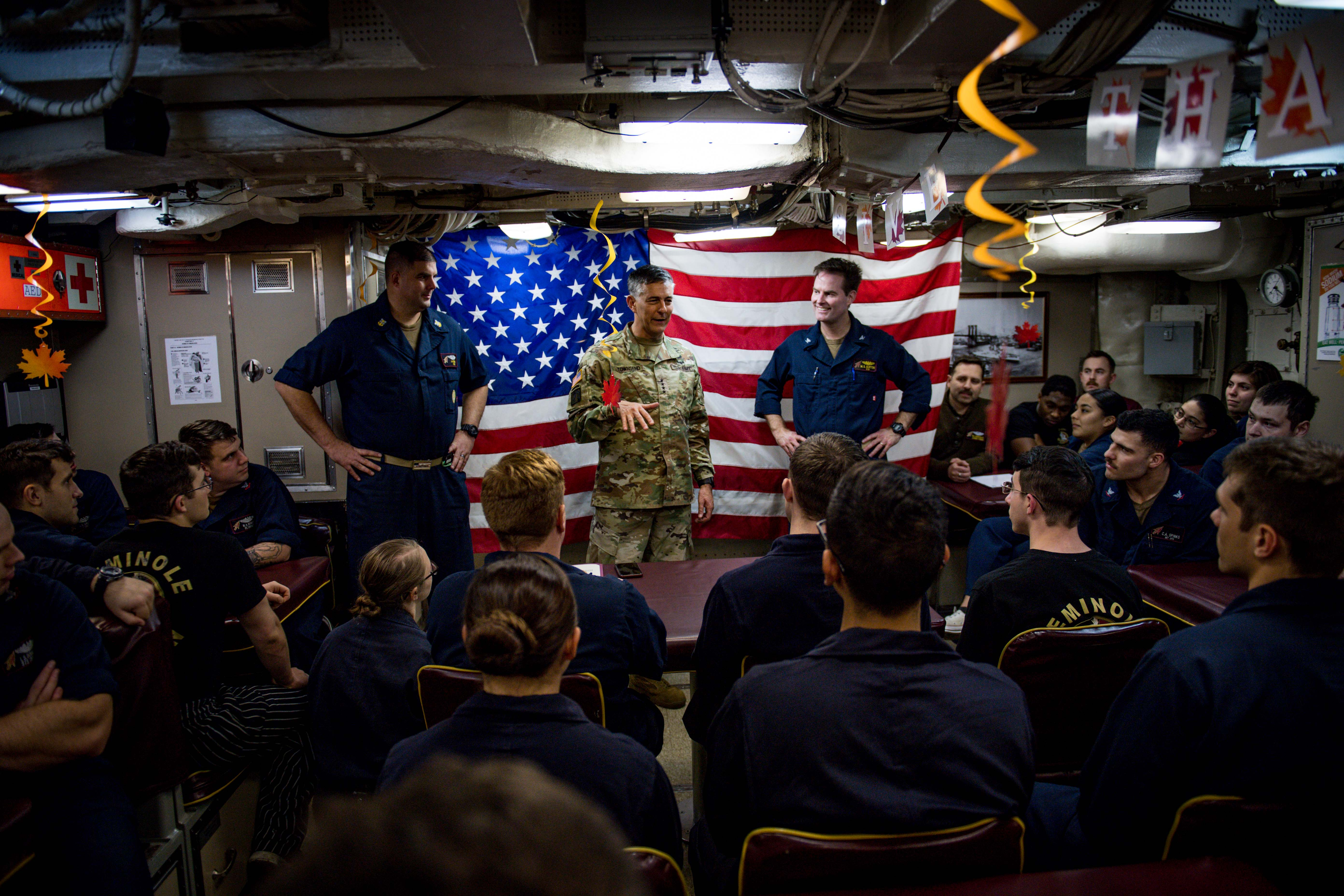 U.S. Army Gen. Stephen J. Townsend, commander, U.S. Africa Command (AFRICOM), center, speaks with the crew of the Ohio-class fleet guided-missile submarine USS Florida (SSGN 728) while underway in the Mediterranean Sea Nov. 25, 2019. AFRICOM, a full-spectrum combatant command, is one of the six U.S. Defense Department's geographic combatant commands and is responsible for all DoD operations, exercises, and security cooperation on the African continent, its island nations, and surrounding waters. (U.S. Navy photo by Mass Communication Specialist 2nd Class Jonathan Nelson)