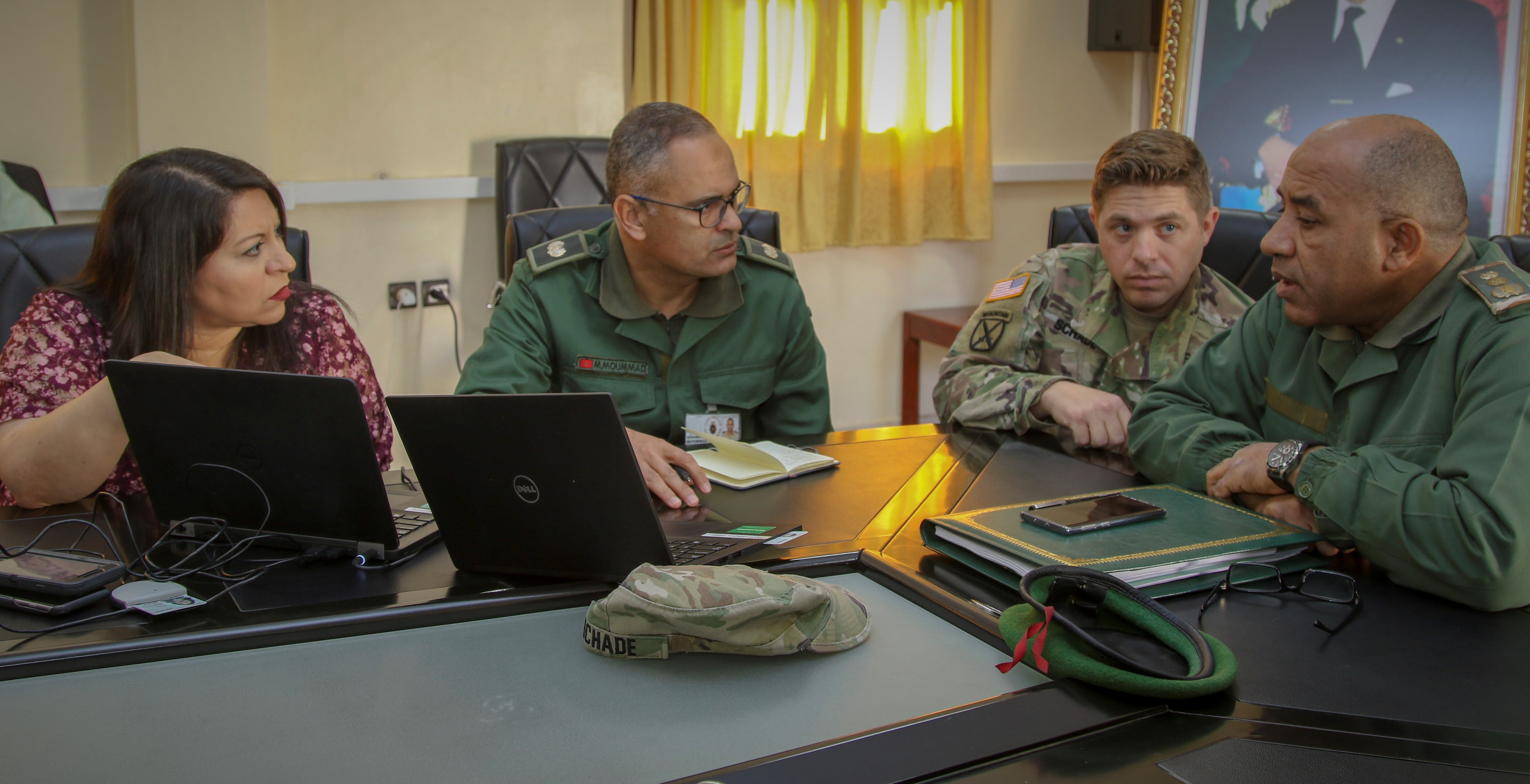 U.S. Army Africa and Moroccan Armed Forces planners discuss coordination for African Lion 20 in Agadir, Morocco, Jan. 15, 2020.